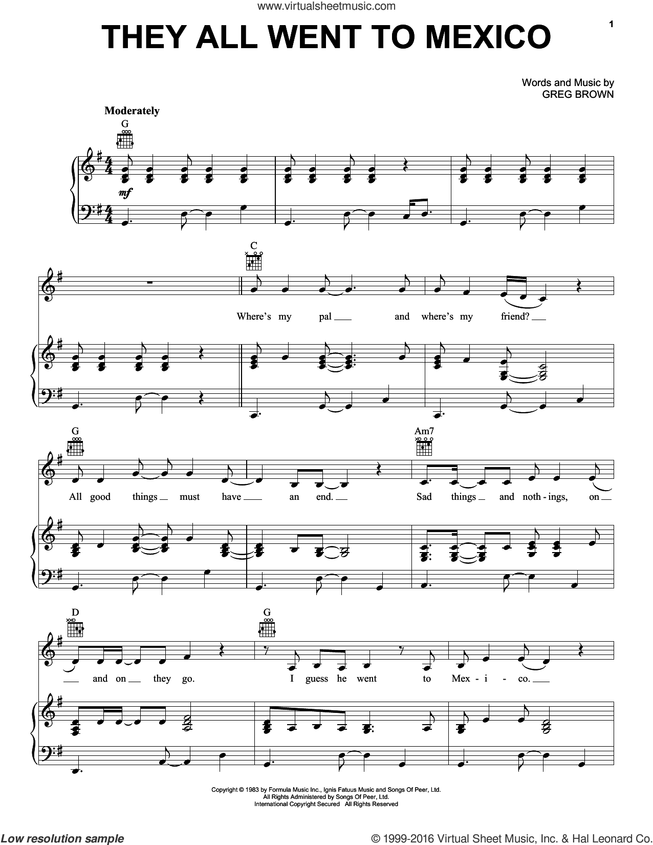 They All Went To Mexico sheet music for voice, piano or guitar by Carlos Santana and Greg Brown, intermediate. Score Image Preview.