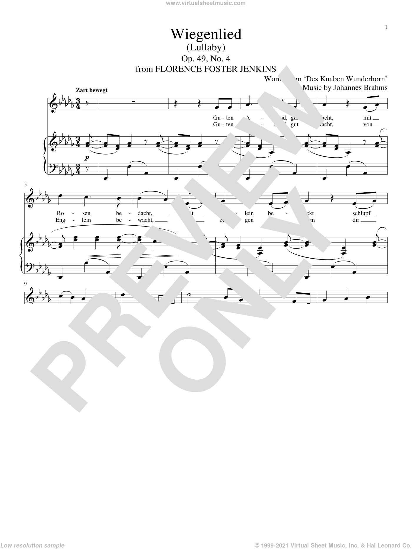 Wiegenlied (Lullaby) sheet music for voice and piano by Johannes Brahms and Alexandre Desplat, classical score, intermediate skill level