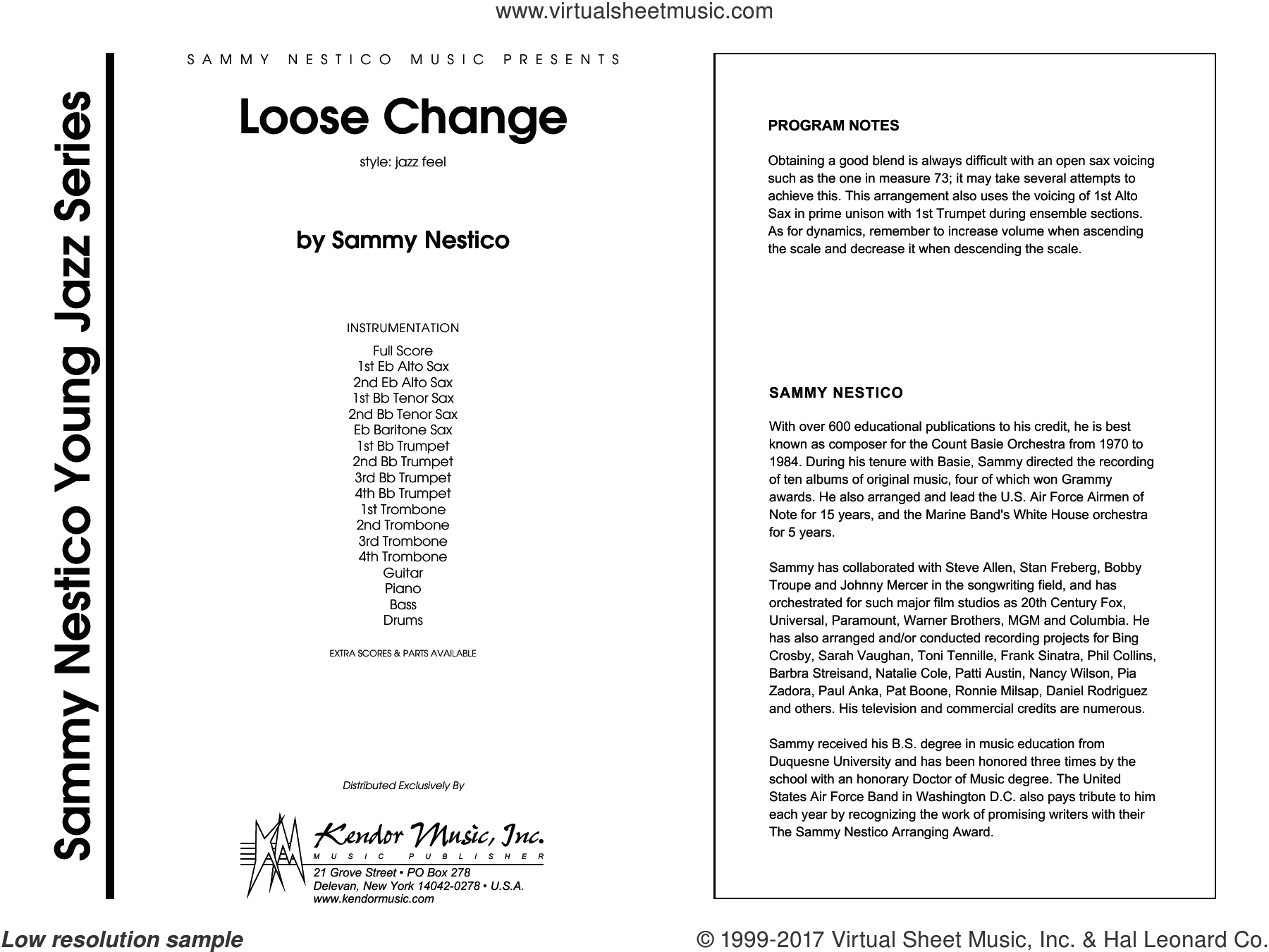 Loose Change (COMPLETE) sheet music for jazz band by Sammy Nestico, intermediate skill level