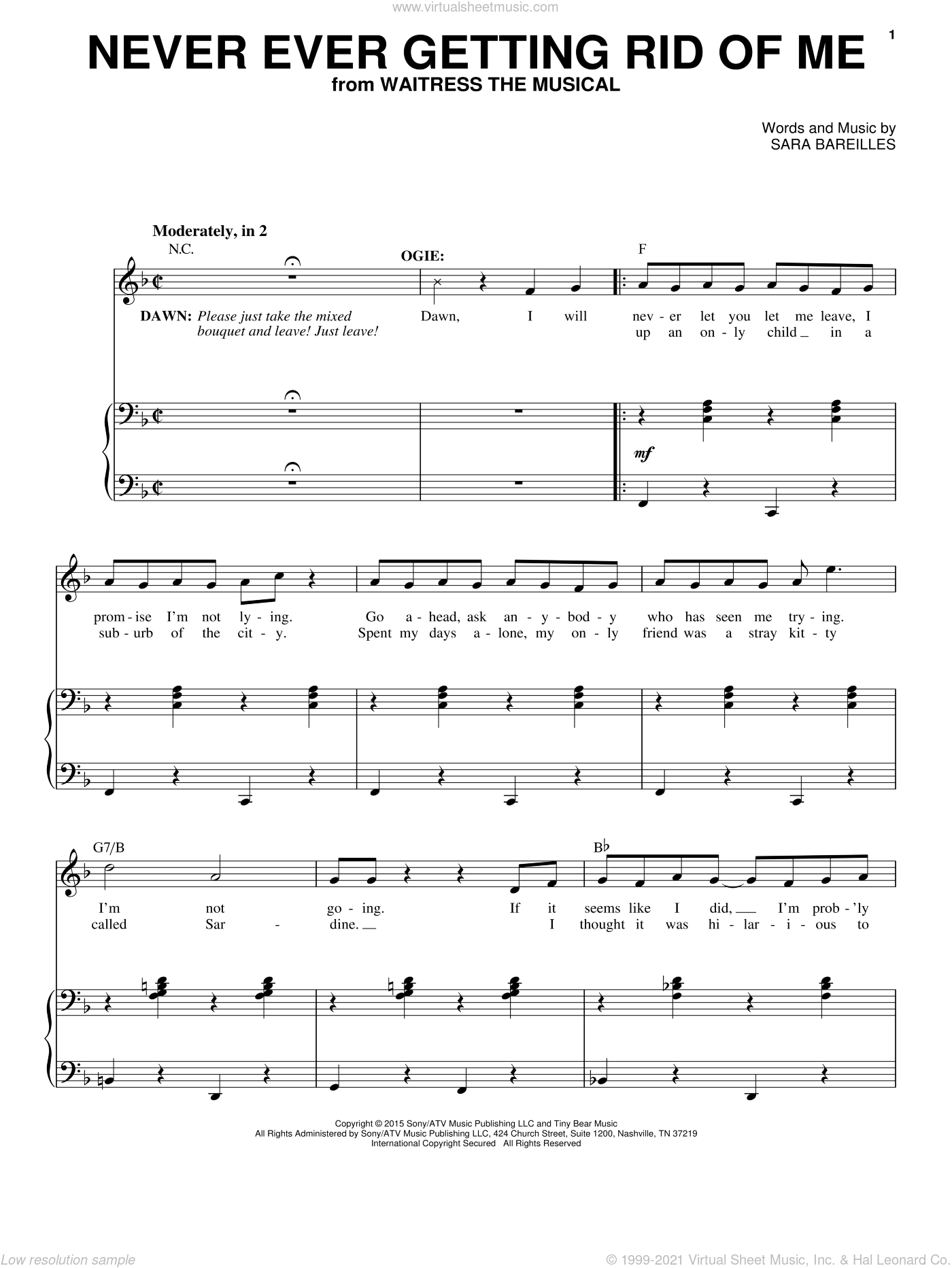 Never Ever Getting Rid Of Me (from Waitress The Musical) sheet music for voice and piano by Sara Bareilles, intermediate skill level