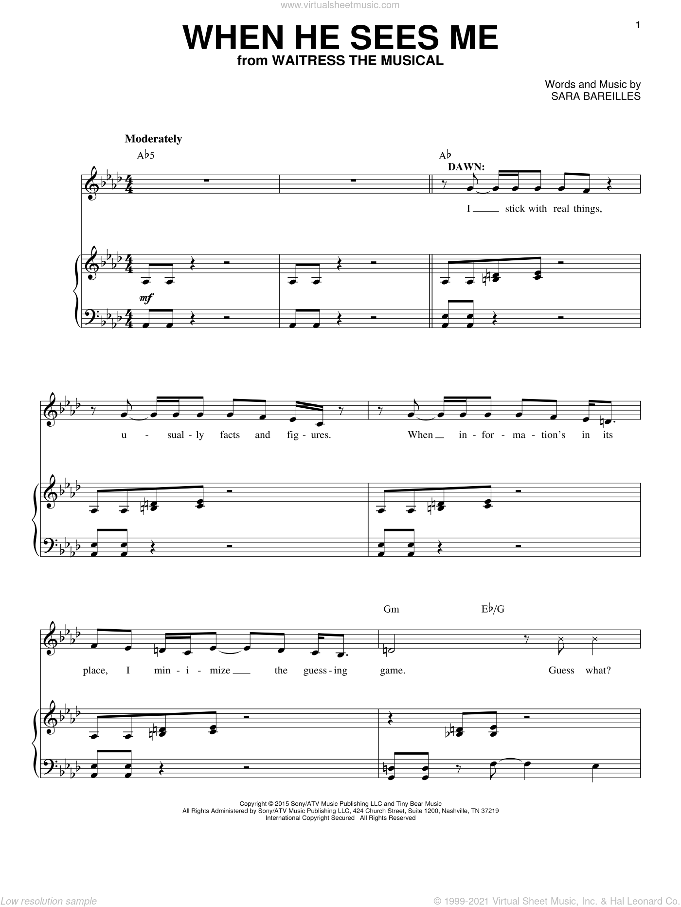 When He Sees Me (from Waitress The Musical) sheet music for voice and piano by Sara Bareilles, intermediate skill level