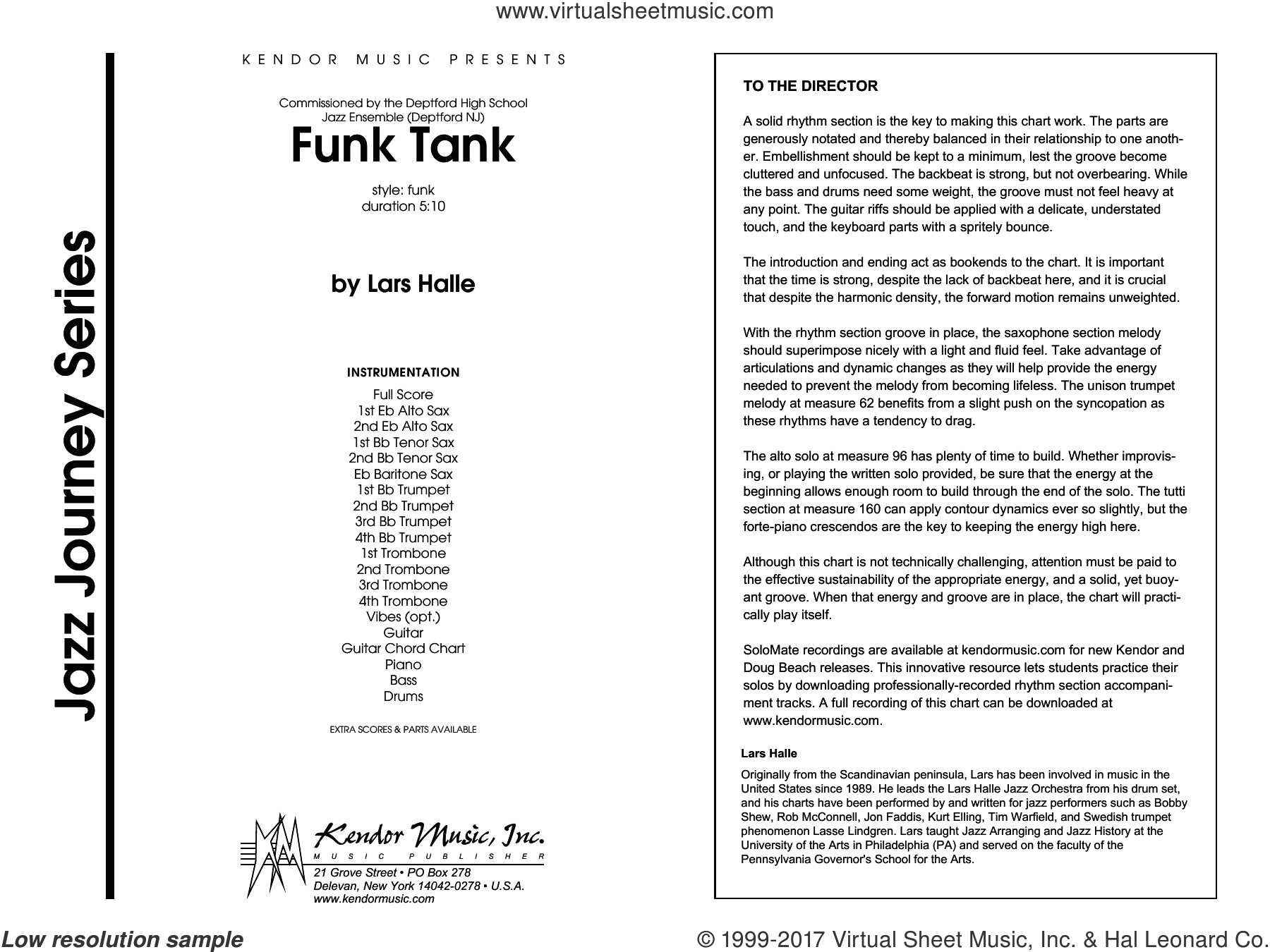 Halle - Funk Tank sheet music (complete collection) for jazz band