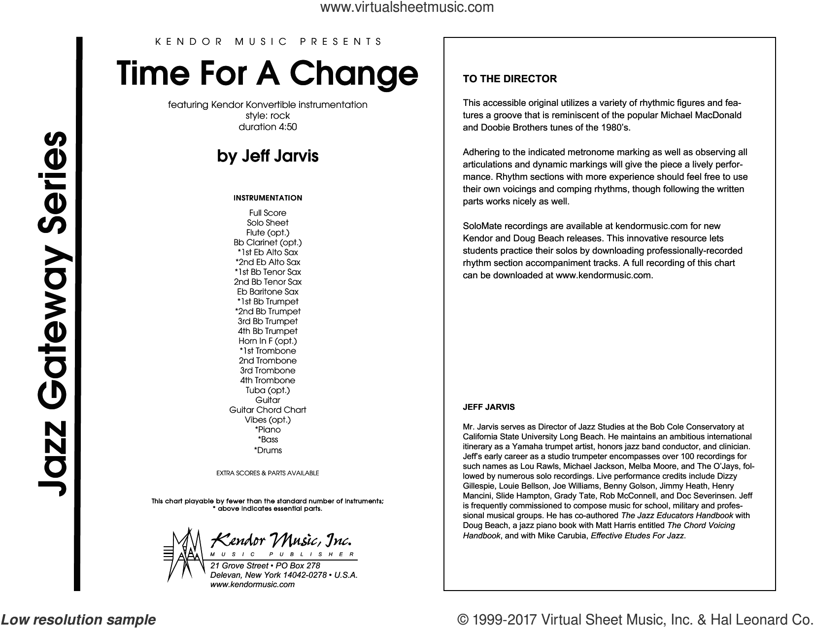 Time For A Change (COMPLETE) sheet music for jazz band by Jeff Jarvis, intermediate
