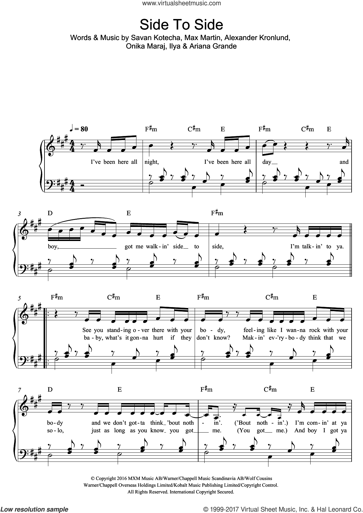 Side To Side (featuring Nicki Minaj) sheet music for piano solo by Ariana Grande, Ariana Grande feat. Nicki Minaj, Nicki Minaj, Alexander Kronlund, Ilya, Max Martin, Onika Maraj and Savan Kotecha, easy skill level