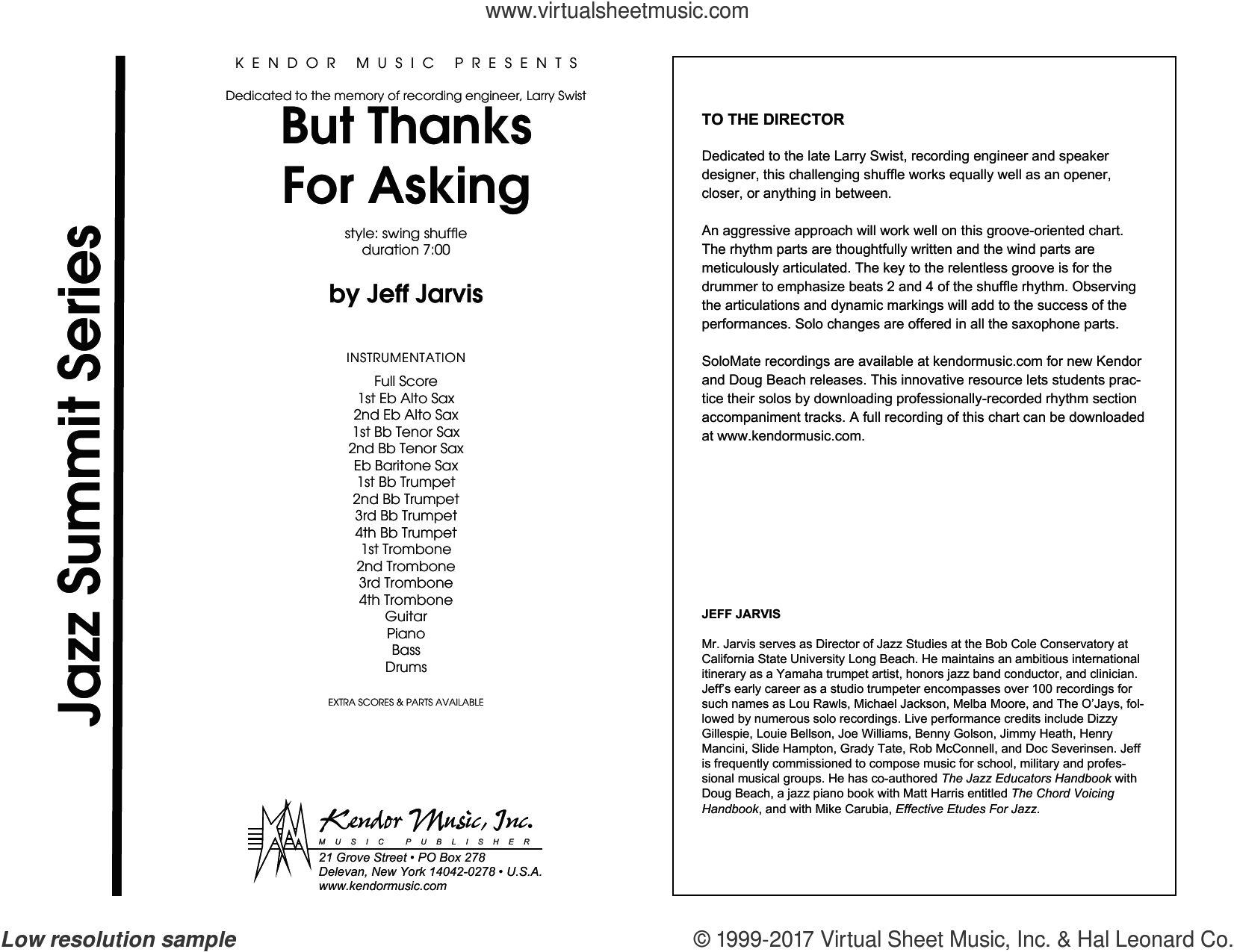 But Thanks For Asking (COMPLETE) sheet music for jazz band by Jeff Jarvis, intermediate jazz band. Score Image Preview.