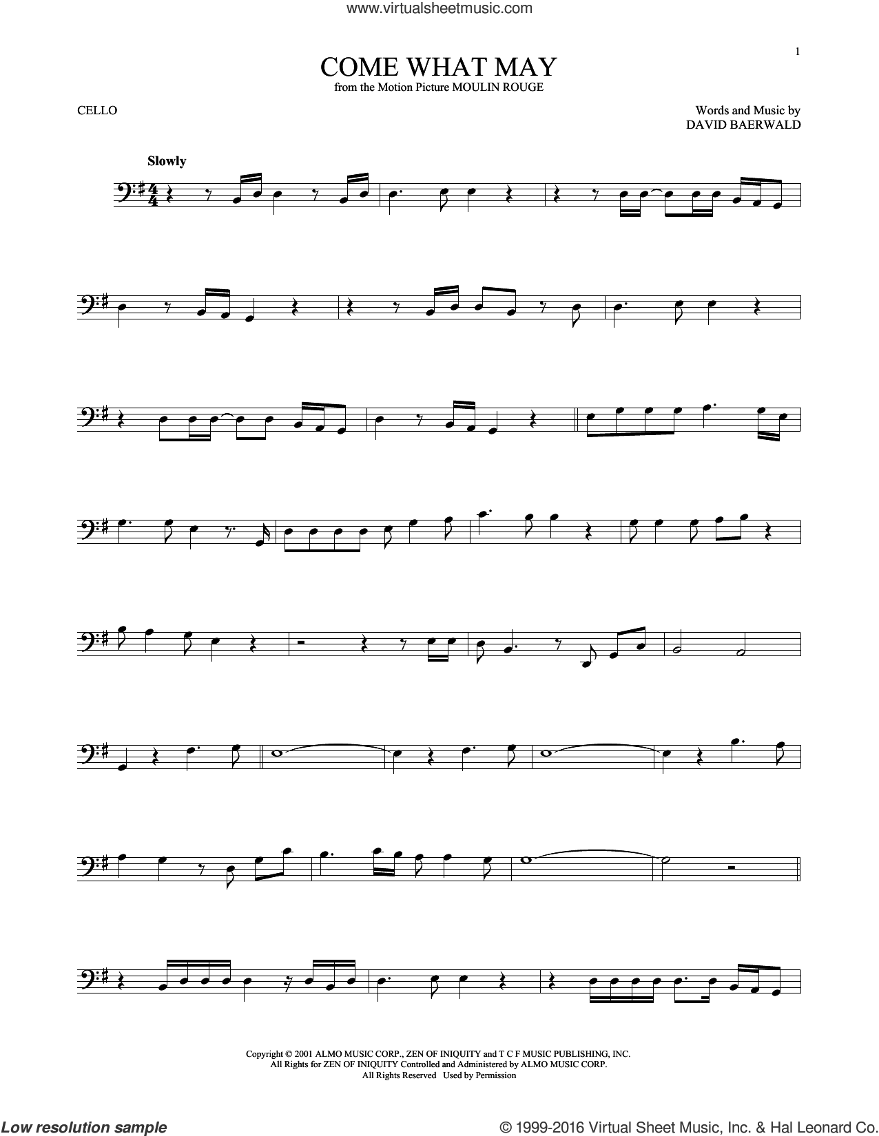 Come What May sheet music for cello solo by David Baerwald and Nicole Kidman and Ewan McGregor, intermediate cello. Score Image Preview.