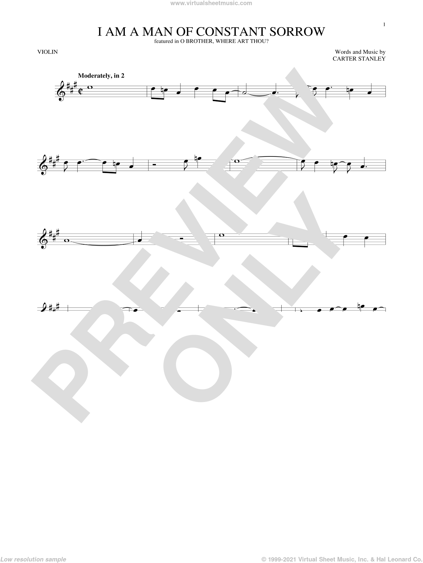 I Am A Man Of Constant Sorrow sheet music for violin solo by Carter Stanley, Charm City Devils and The Soggy Bottom Boys, intermediate violin. Score Image Preview.