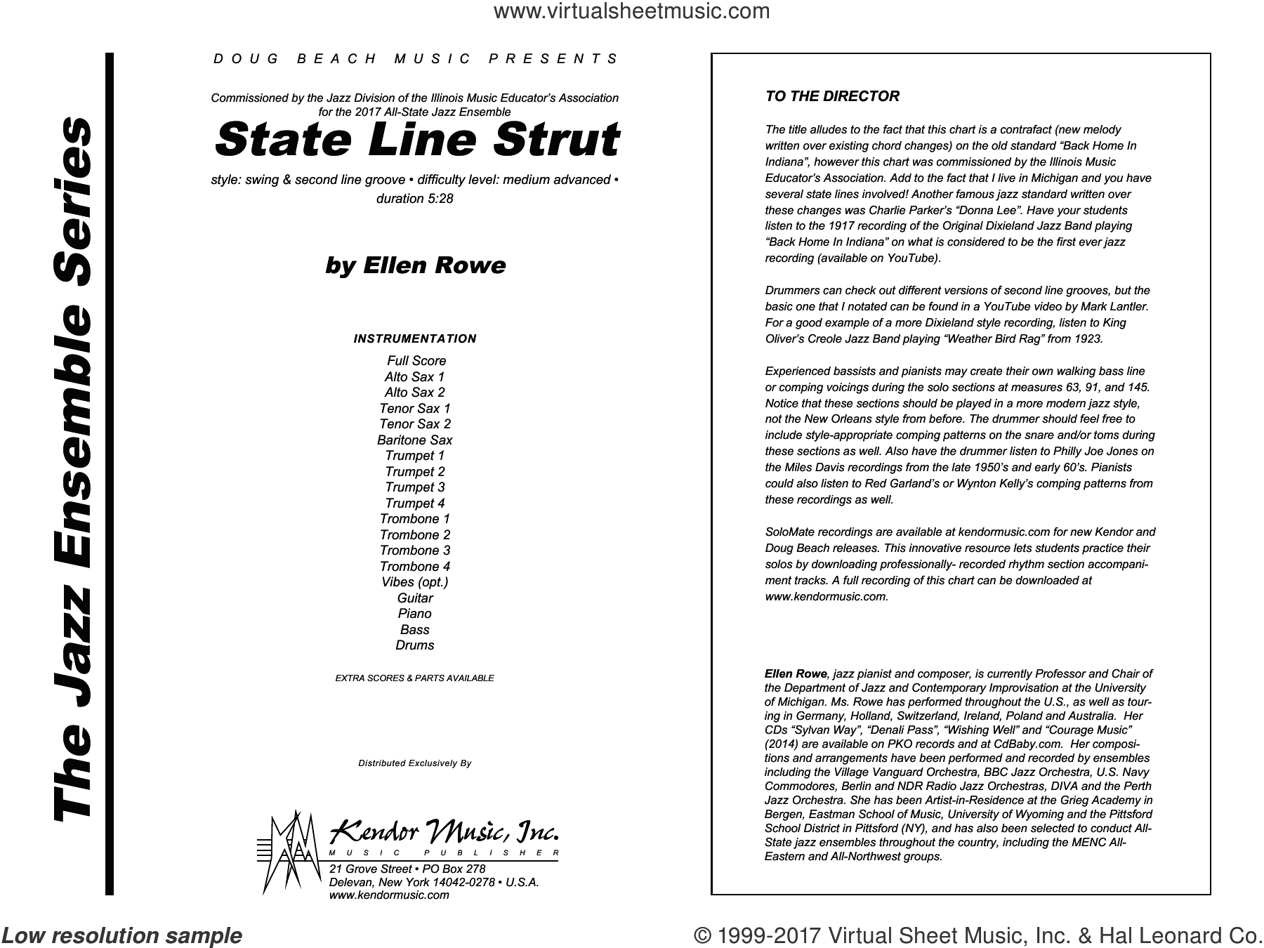 Row - State Line Strut sheet music (complete collection) for jazz band