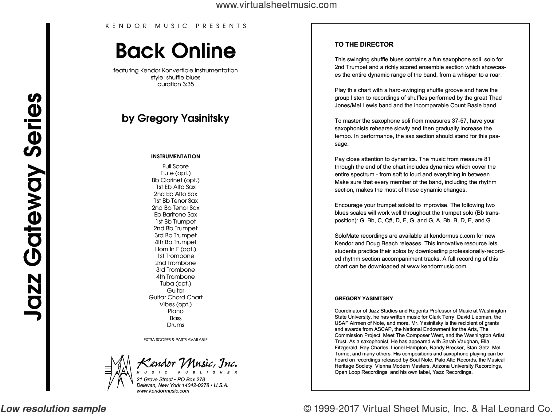 Back Online (COMPLETE) sheet music for jazz band by Gregory Yasinitsky, intermediate skill level