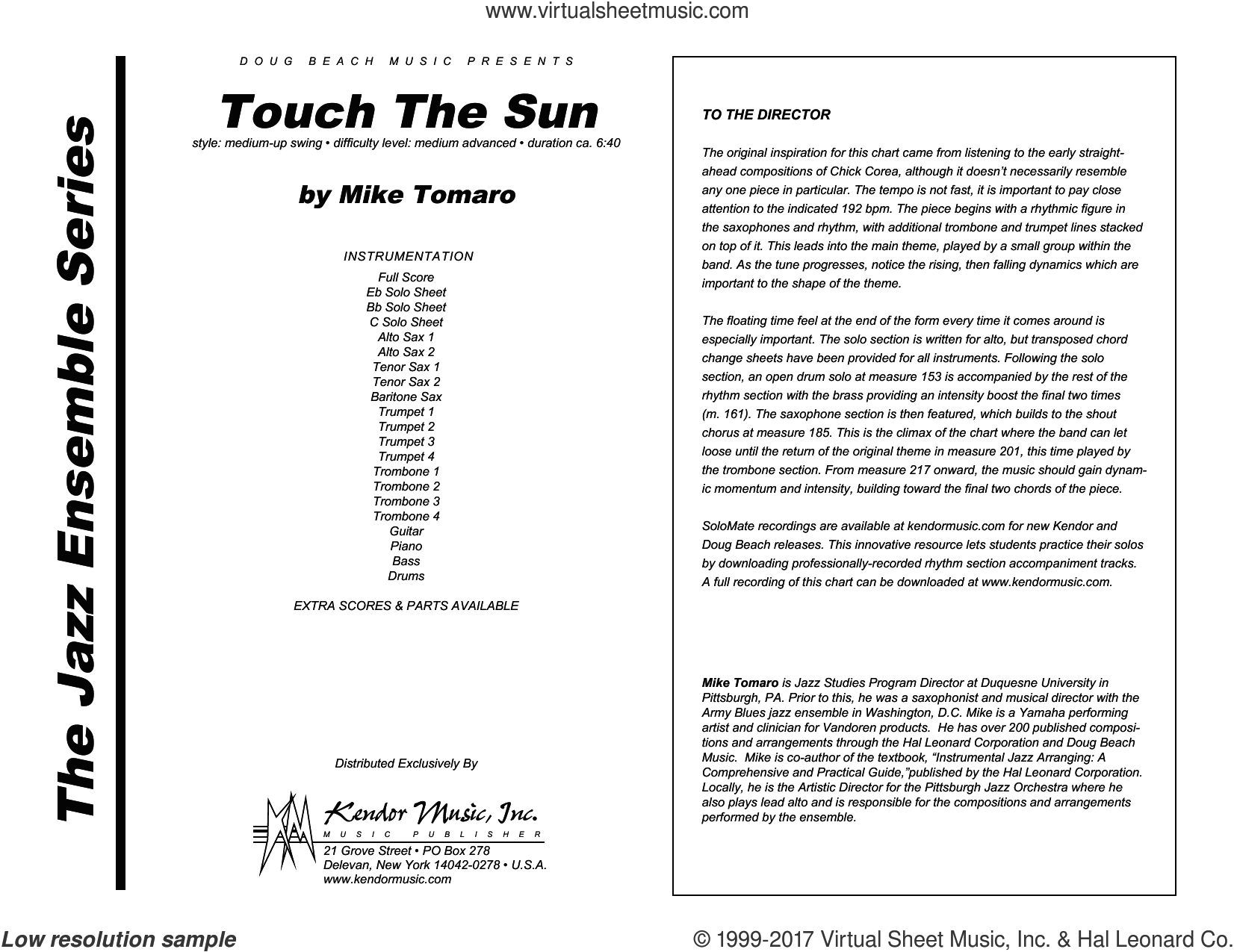 Touch The Sun (COMPLETE) sheet music for jazz band by Mike Tomaro, intermediate. Score Image Preview.