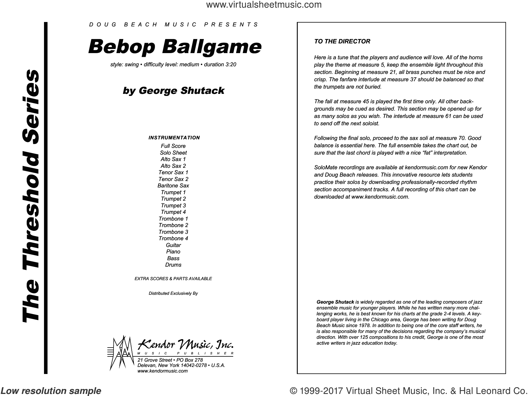 Bebop Ballgame (COMPLETE) sheet music for jazz band by George Shutack, intermediate. Score Image Preview.