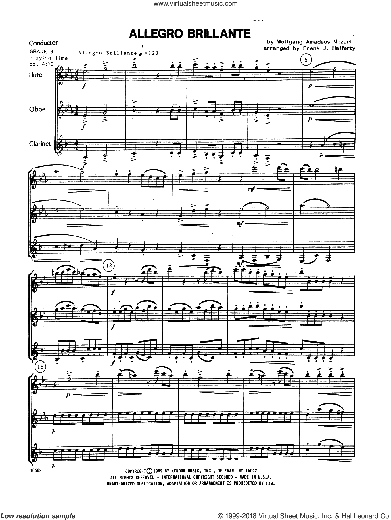 Allegro Brillante (COMPLETE) sheet music for wind trio by Wolfgang Amadeus Mozart and Frank J. Halferty, classical score, intermediate