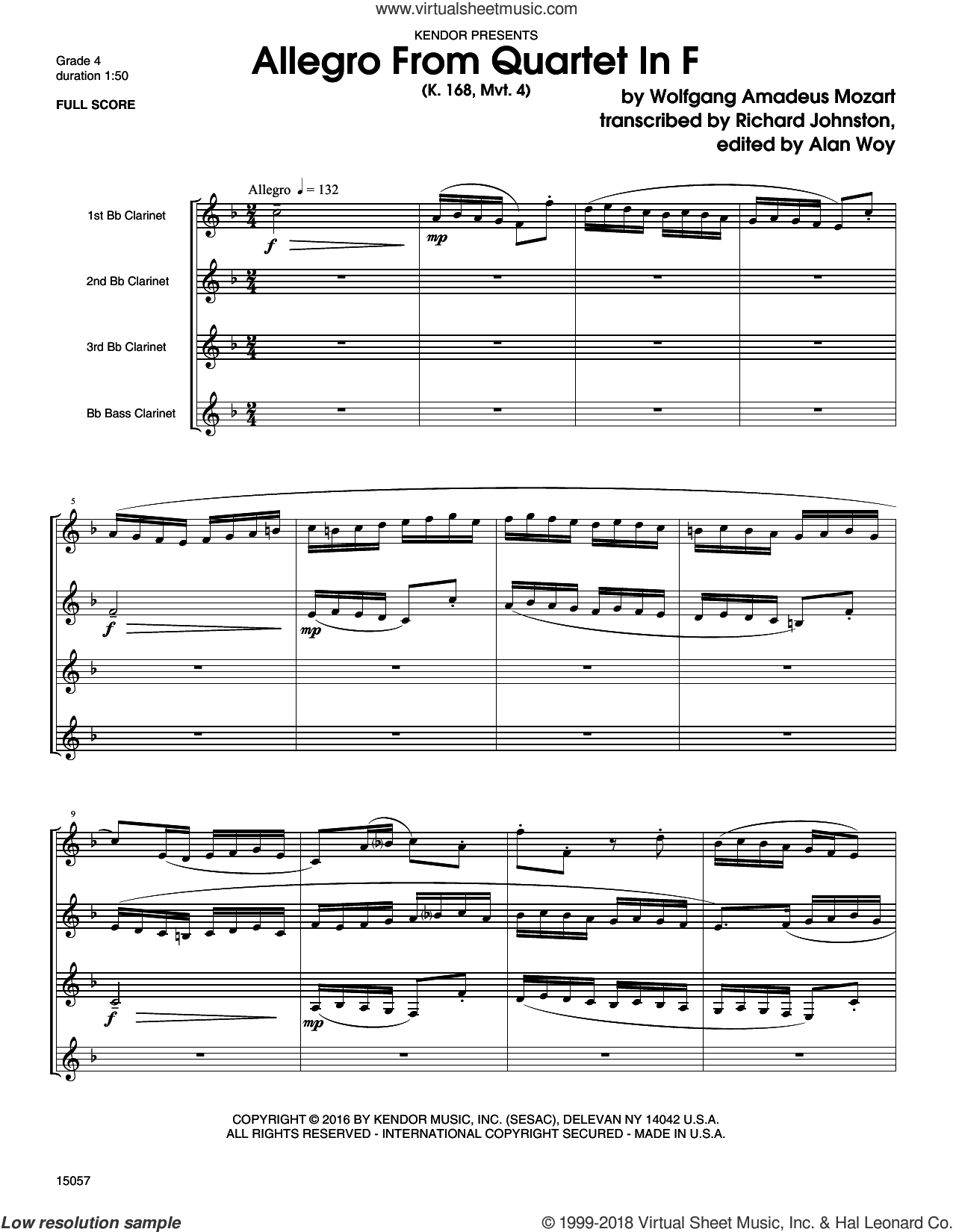 Allegro From Quartet In F (K. 168, Mvt. 4) (COMPLETE) sheet music for clarinet quartet by Wolfgang Amadeus Mozart, Alan Woy and Richard Johnston, classical score, intermediate skill level
