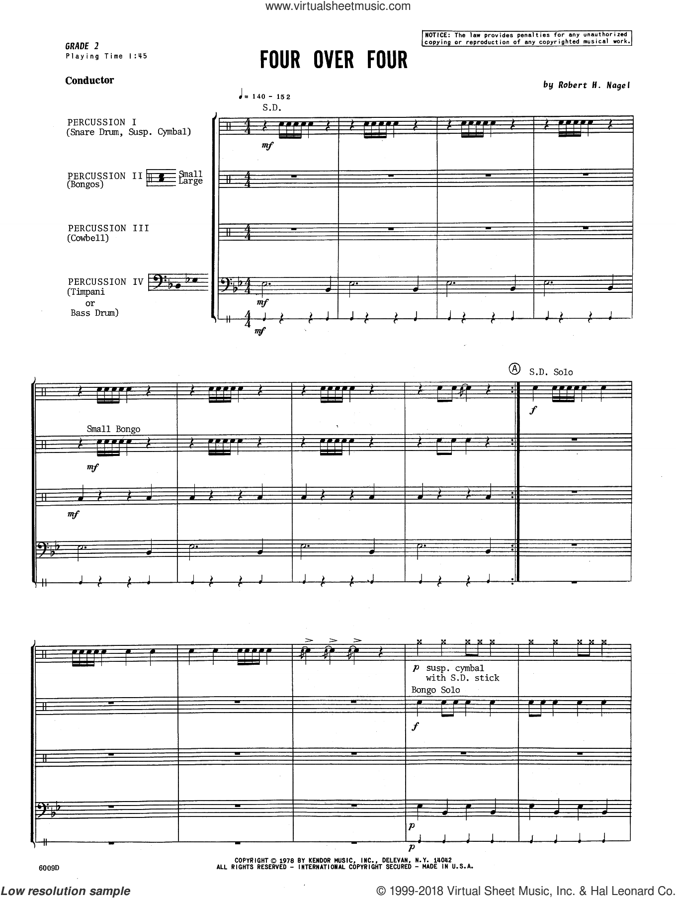 Four Over Four (COMPLETE) sheet music for percussions by Robert H. Nagel, intermediate skill level
