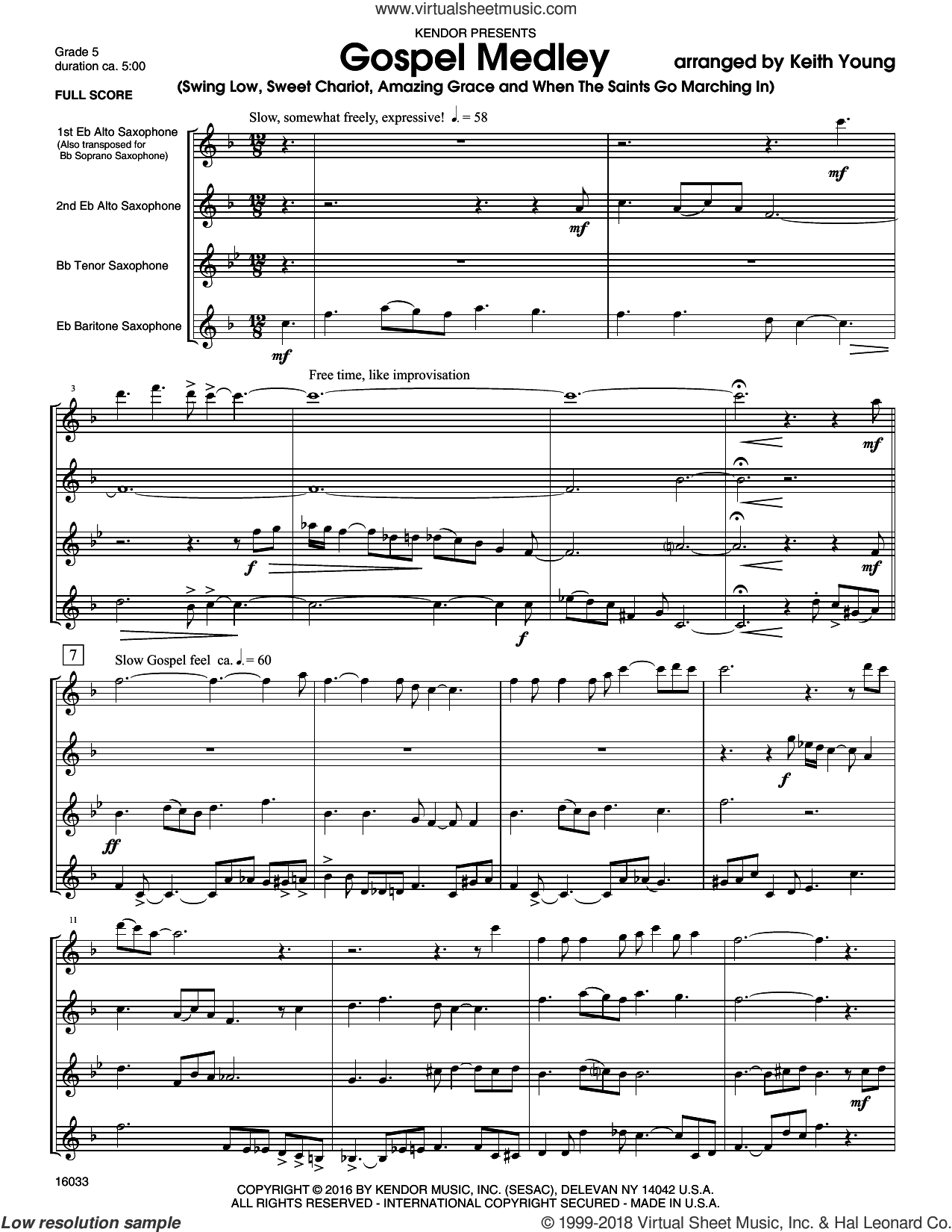 Gospel Medley (COMPLETE) sheet music for saxophone quartet by Keith Young, intermediate skill level