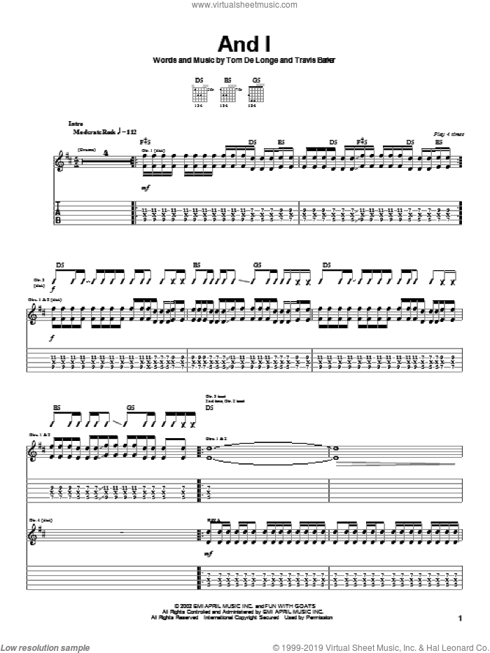And I sheet music for guitar (tablature) by Box Car Racer, intermediate. Score Image Preview.