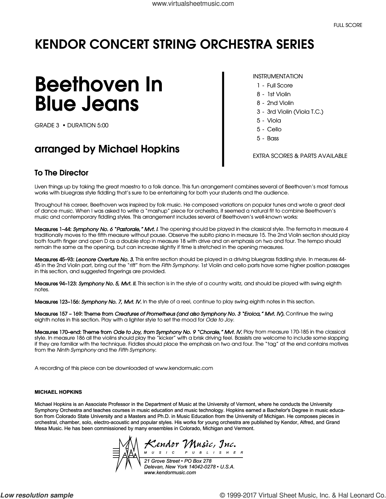 Beethoven In Blue Jeans (COMPLETE) sheet music for orchestra by Ludwig van Beethoven and Michael Hopkins, classical score, intermediate