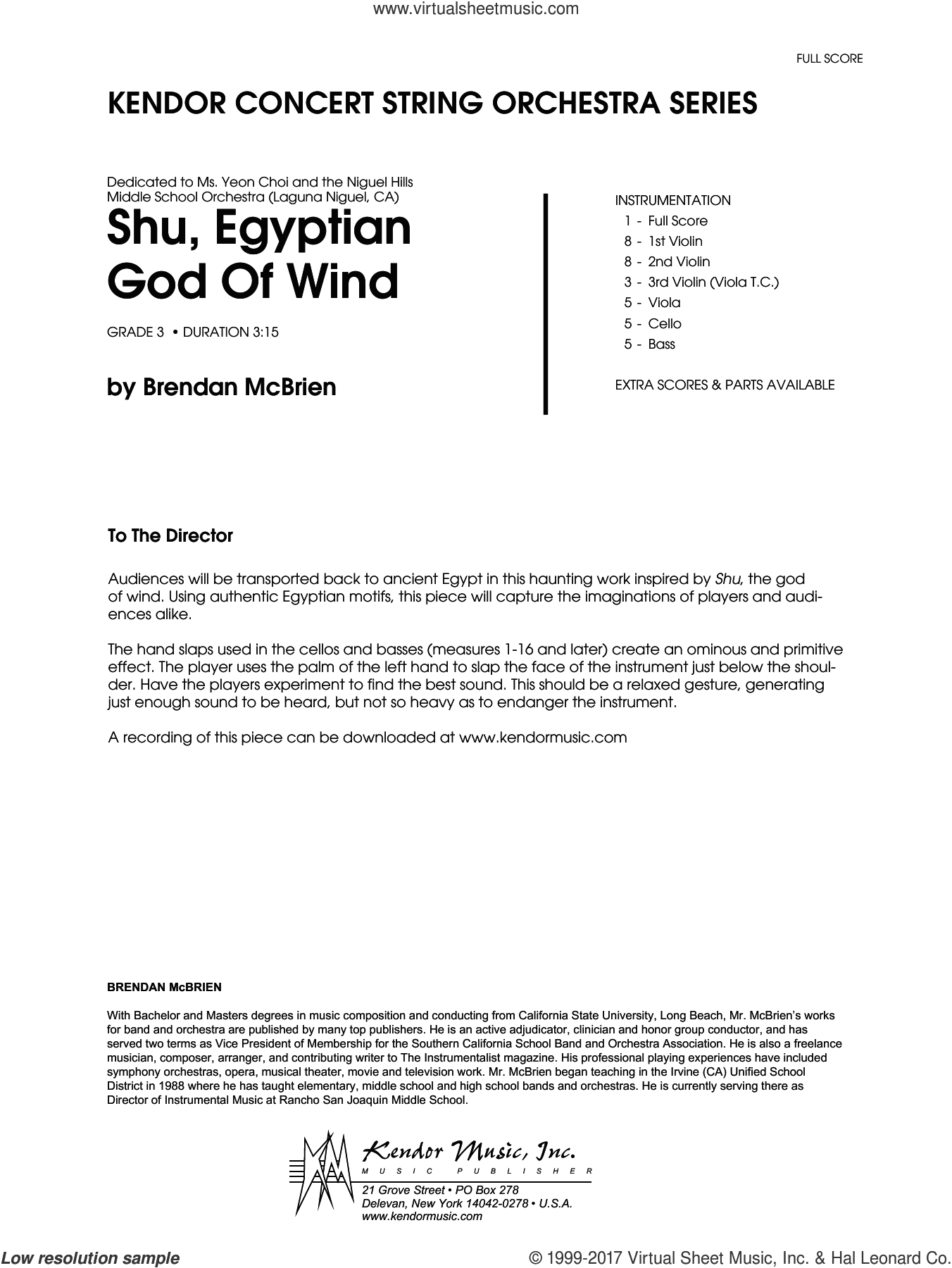 Shu, Egyptian God Of Wind (COMPLETE) sheet music for orchestra by Brendan McBrien, intermediate skill level