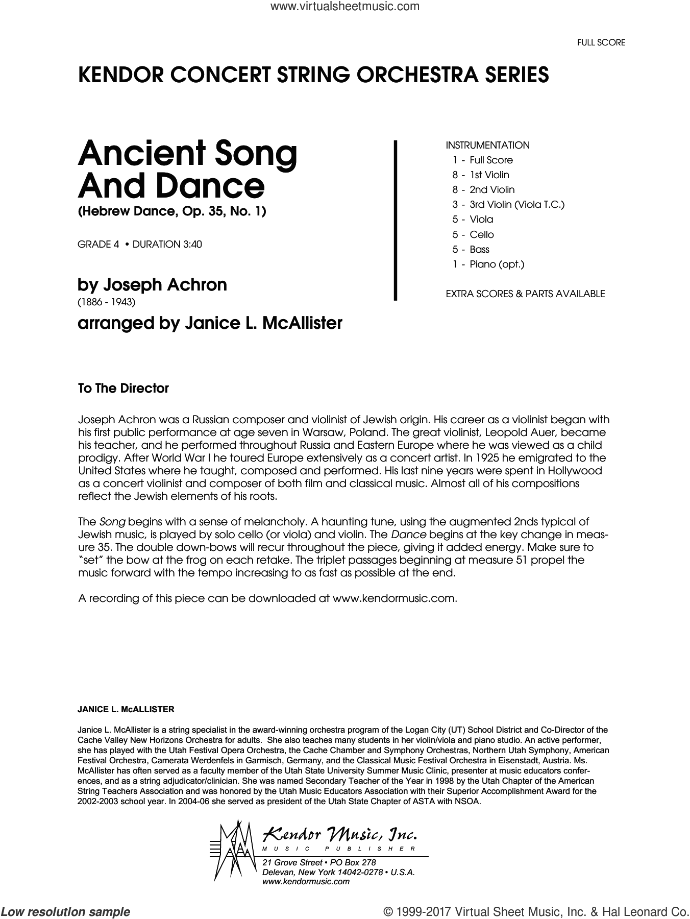 Ancient Song And Dance (Hebrew Dance, Op. 35, No. 1) (COMPLETE) sheet music for orchestra by Janice McAllister, intermediate skill level