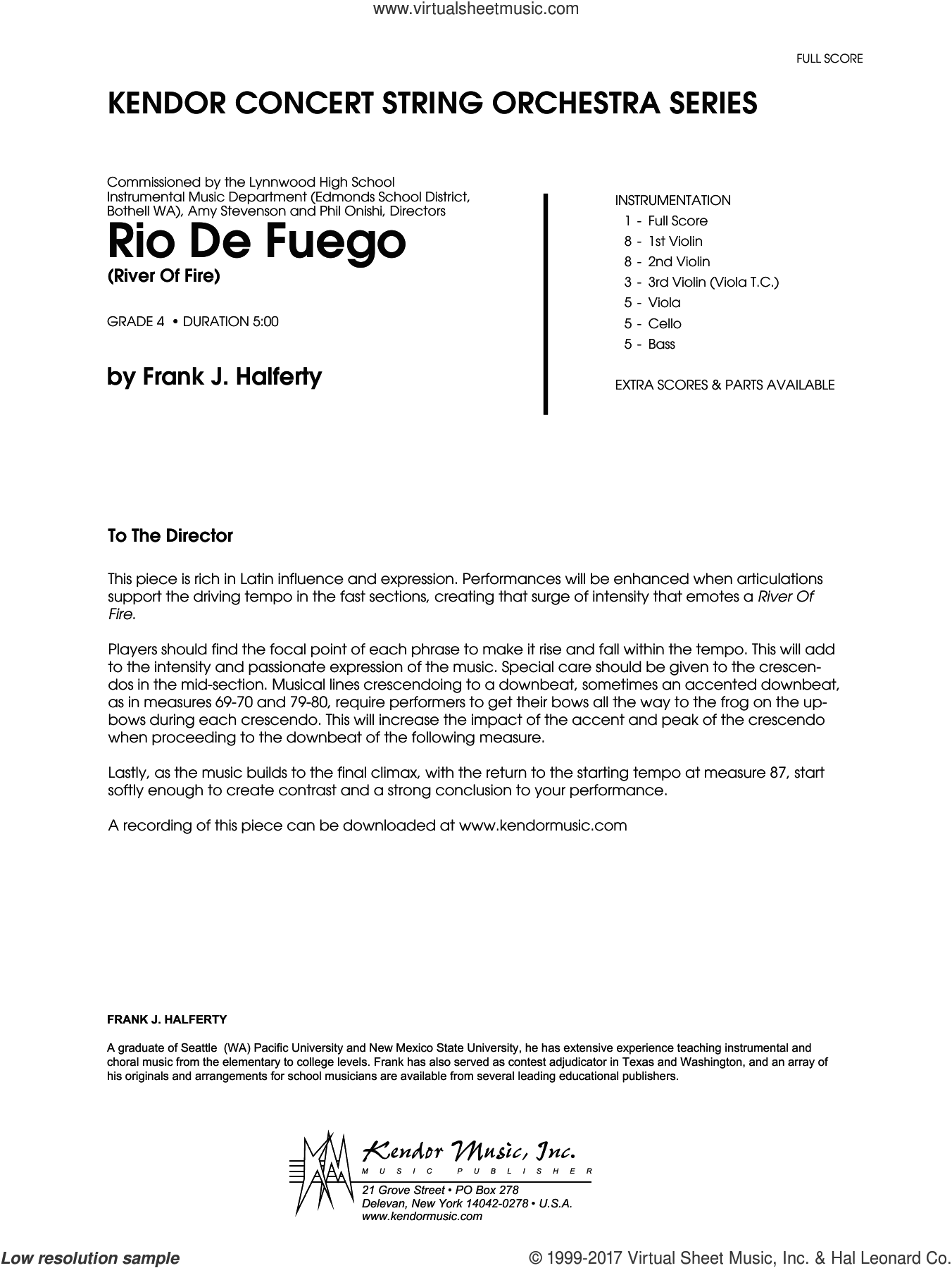 Rio De Fuego (River Of Fire) (COMPLETE) sheet music for orchestra by Frank J. Halferty, intermediate skill level