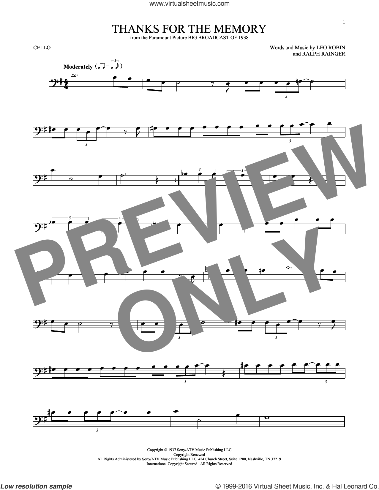 Thanks For The Memory sheet music for cello solo by Leo Robin, Dave McKenna, Mildred Bailey, Shep Fields and Ralph Rainger, intermediate skill level