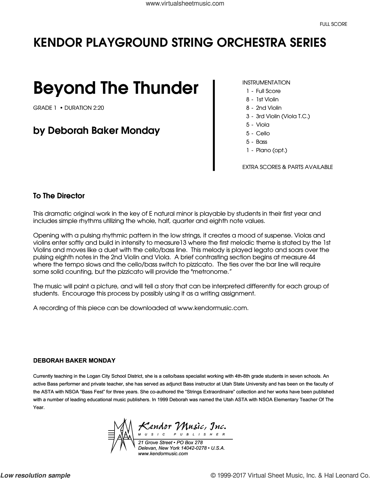 Beyond The Thunder (COMPLETE) sheet music for orchestra by Deborah Baker Monday, intermediate skill level