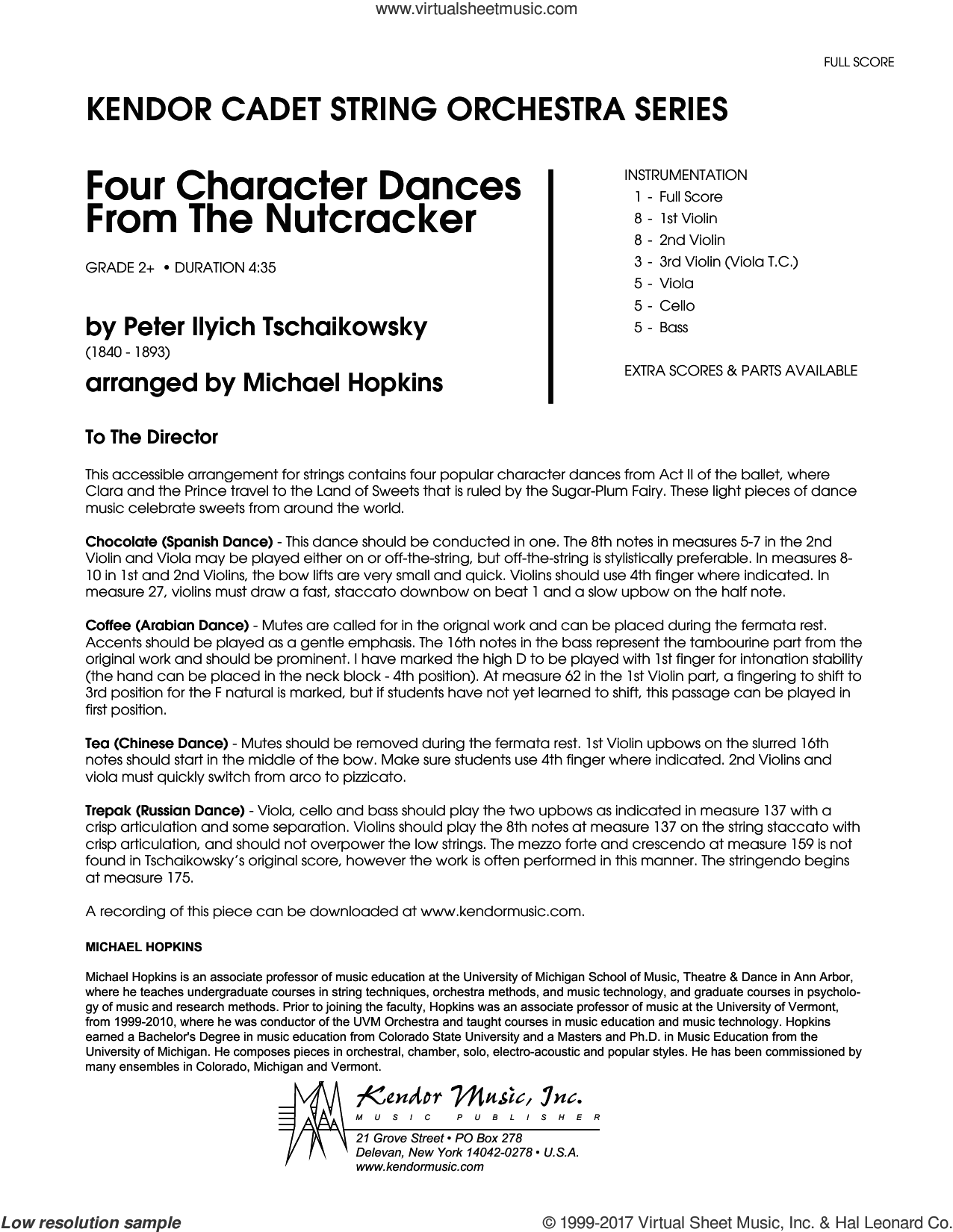 Four Character Dances From The Nutcracker (COMPLETE) sheet music for orchestra by Pyotr Ilyich Tchaikovsky and Michael Hopkins, classical score, intermediate. Score Image Preview.