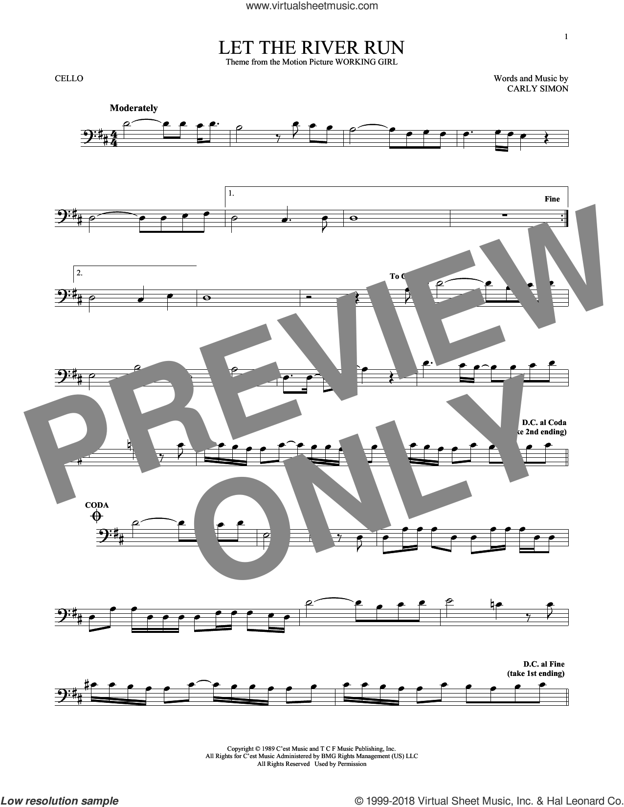 Let The River Run sheet music for cello solo by Carly Simon, intermediate skill level