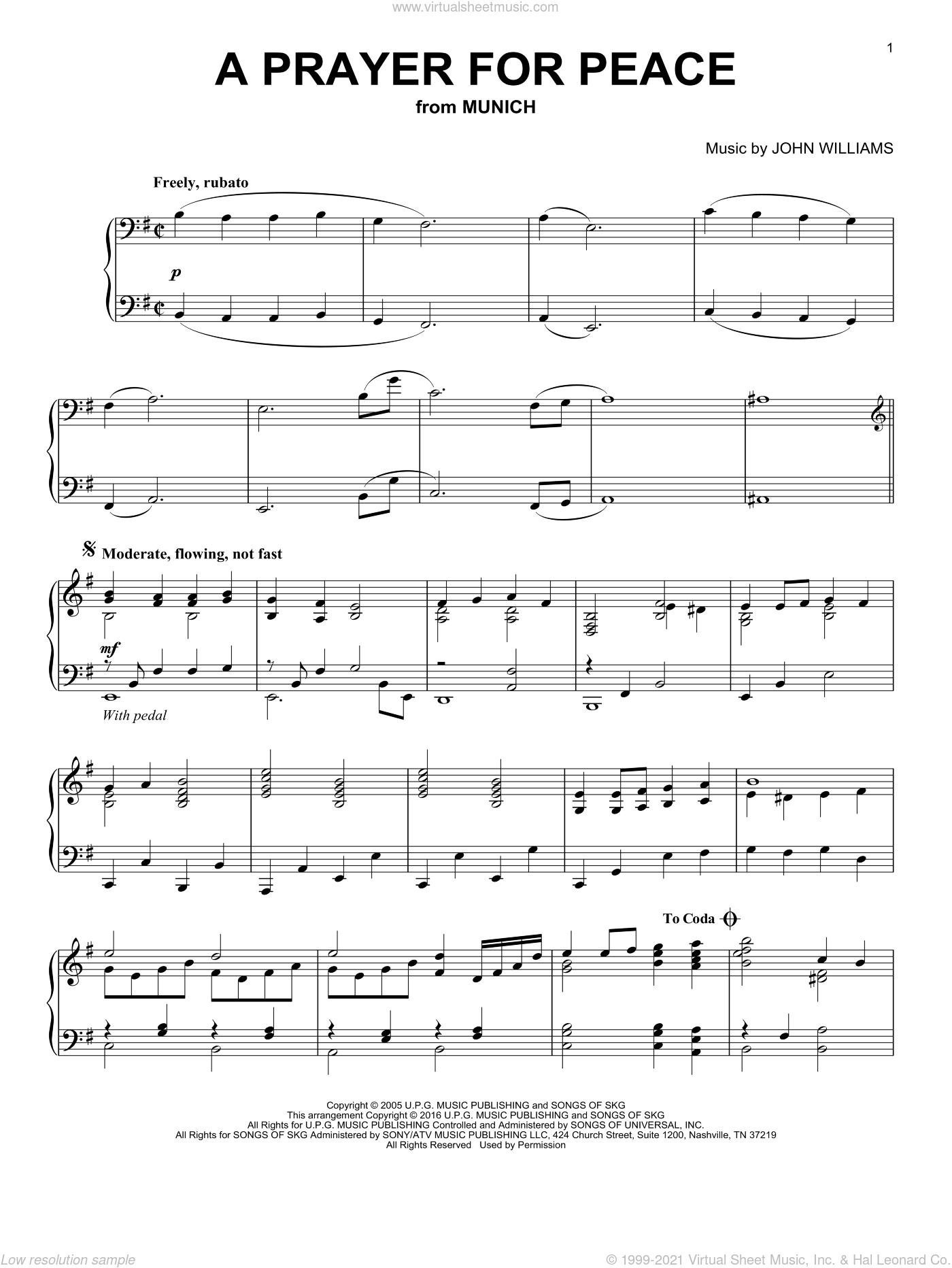 A Prayer For Peace sheet music for piano solo by John Williams, intermediate skill level