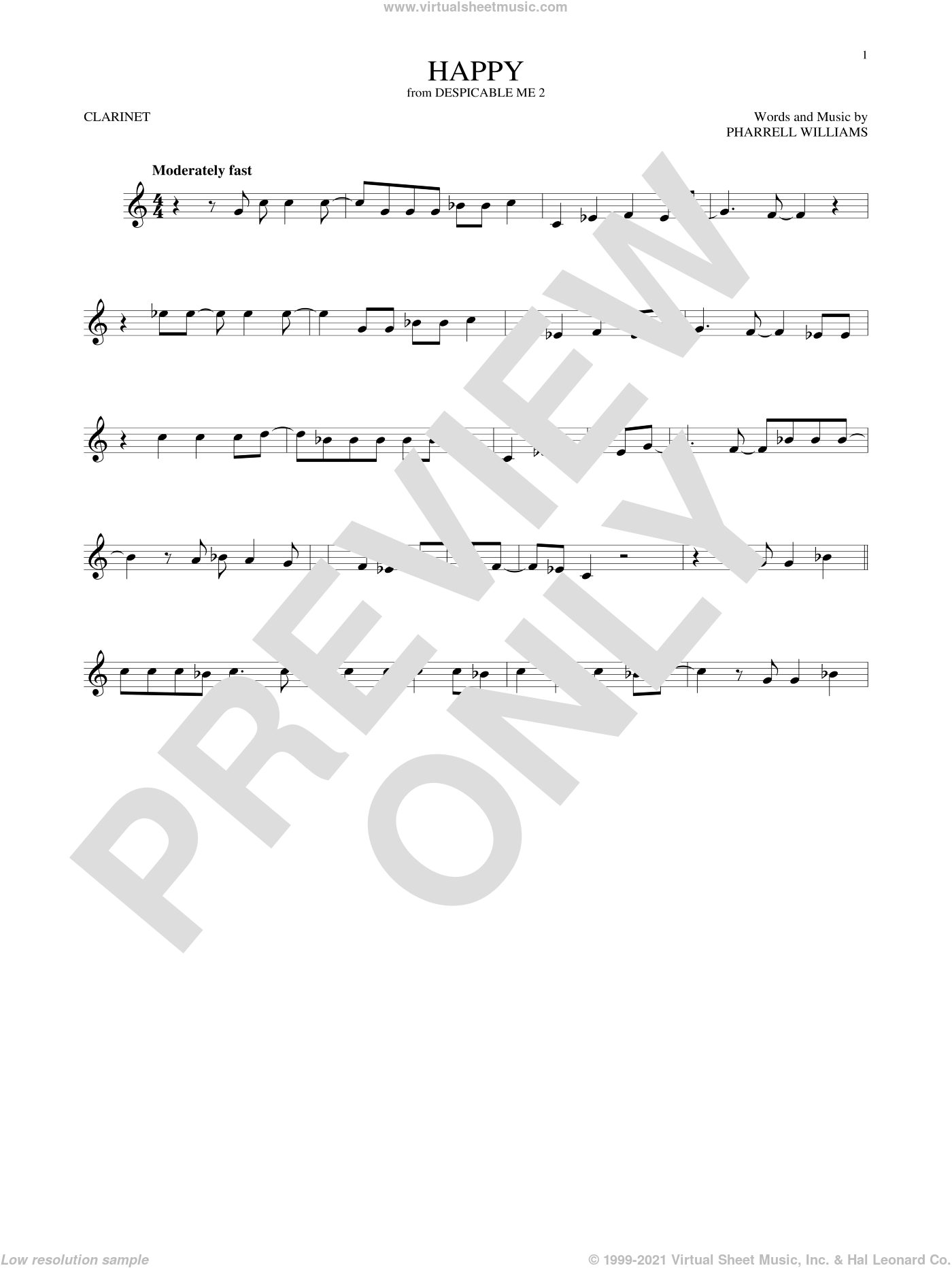 Happy sheet music for clarinet solo by Pharrell and Pharrell Williams, intermediate skill level