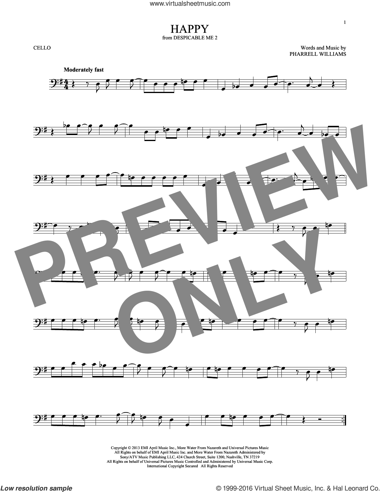 Happy sheet music for cello solo by Pharrell and Pharrell Williams, intermediate skill level