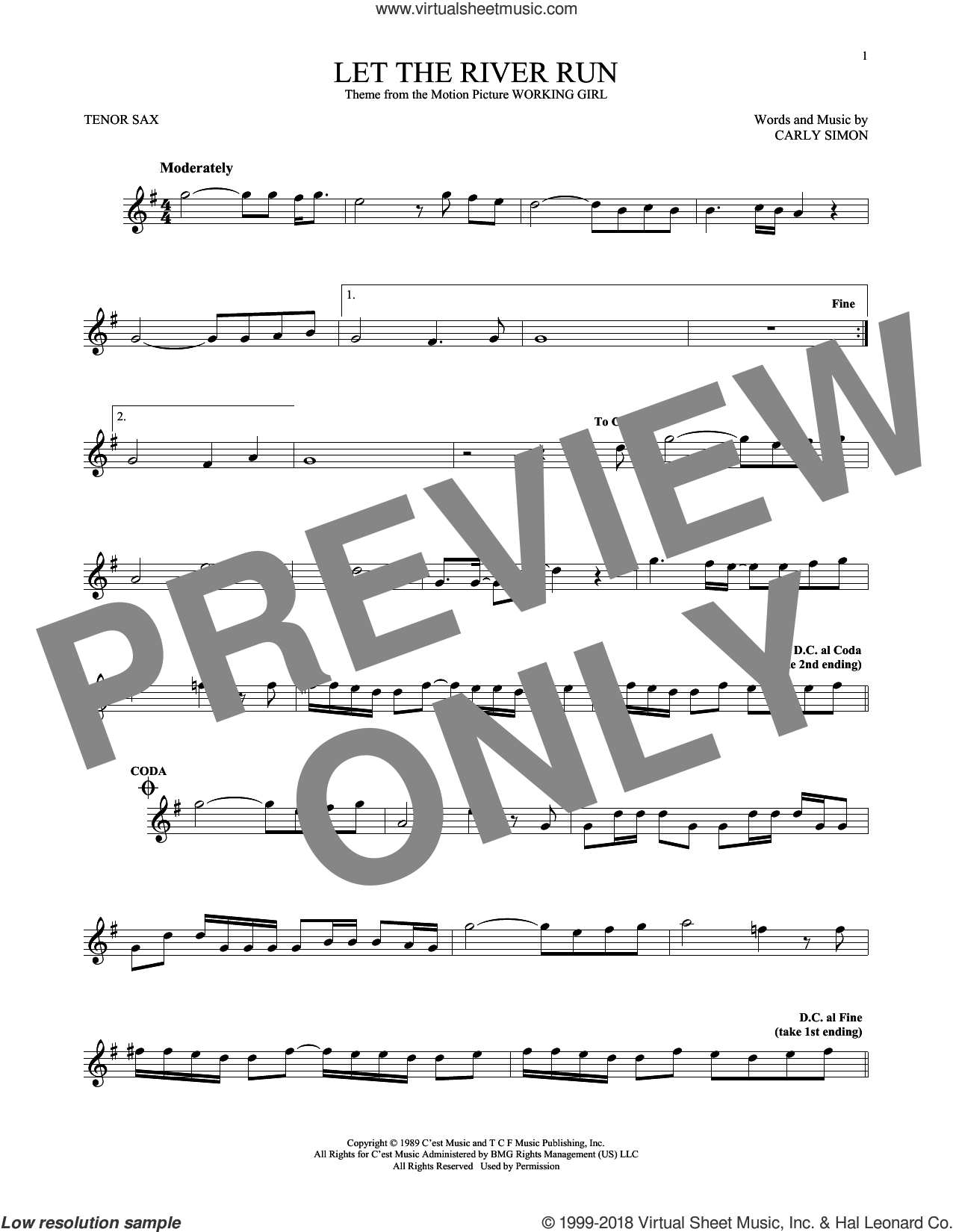Let The River Run sheet music for tenor saxophone solo ( Sax) by Carly Simon, intermediate tenor saxophone ( Sax)