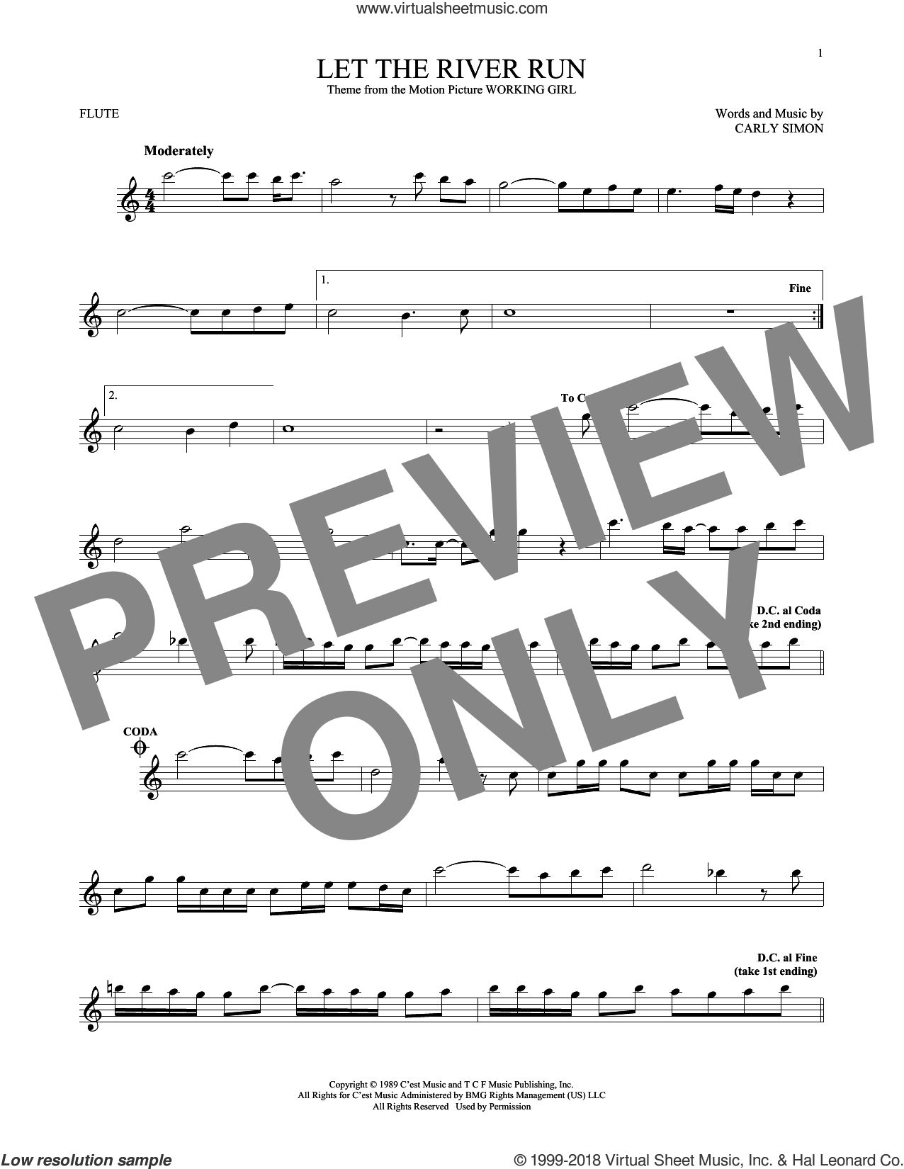 Let The River Run sheet music for flute solo by Carly Simon, intermediate skill level