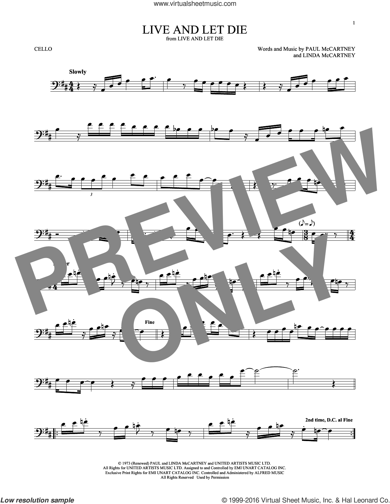 Live And Let Die sheet music for cello solo by Wings, Linda McCartney and Paul McCartney, intermediate skill level