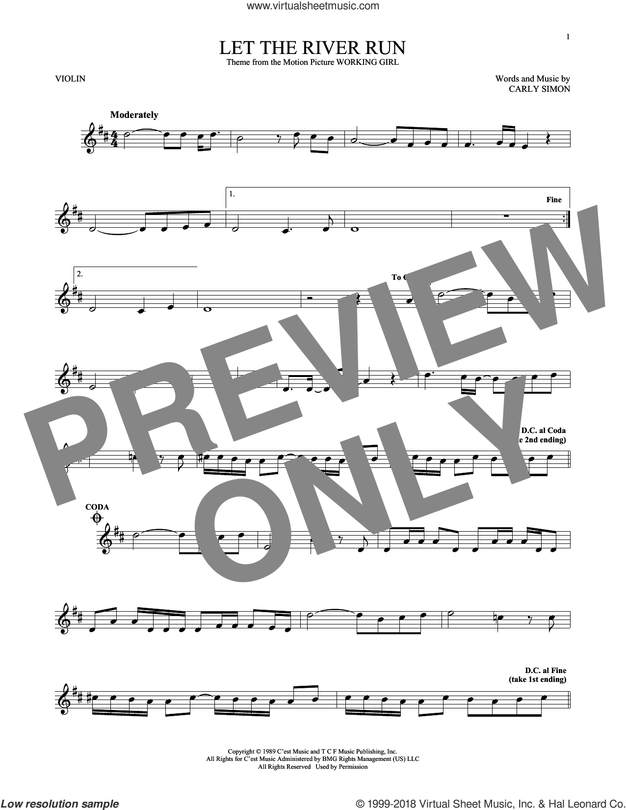 Let The River Run sheet music for violin solo by Carly Simon, intermediate skill level