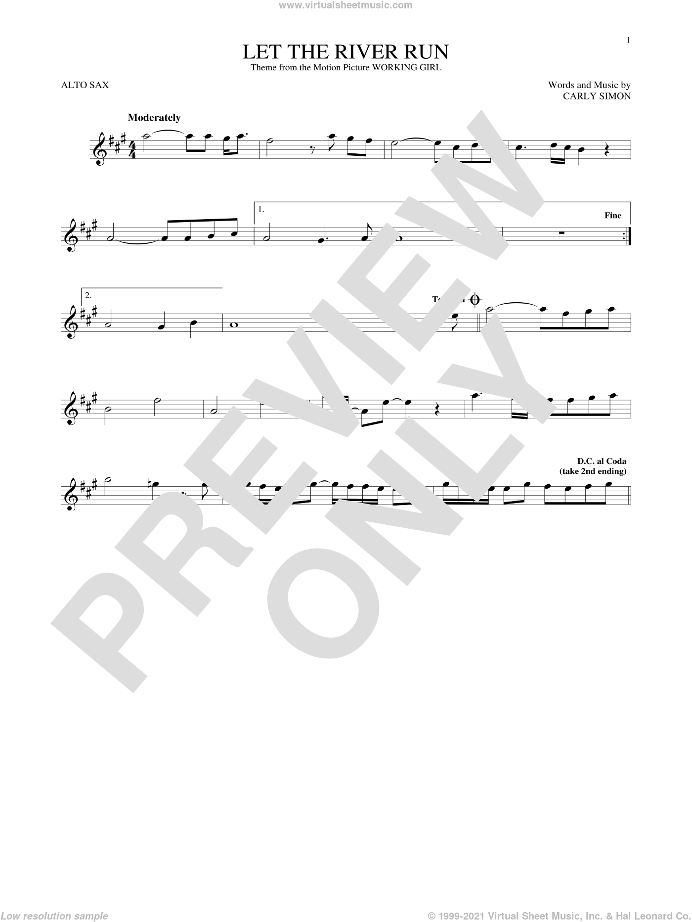 Let The River Run sheet music for alto saxophone solo ( Sax) by Carly Simon. Score Image Preview.