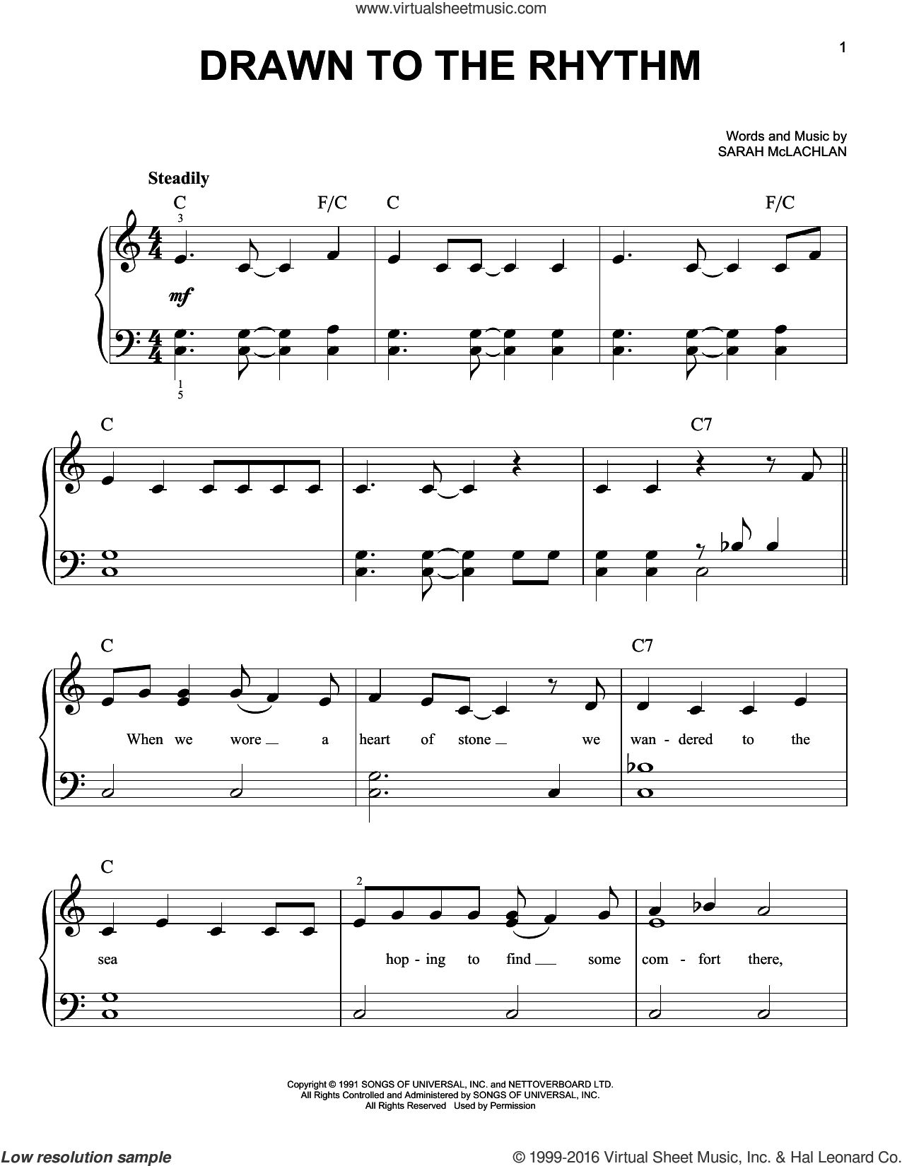 Drawn To The Rhythm sheet music for piano solo by Sarah McLachlan. Score Image Preview.