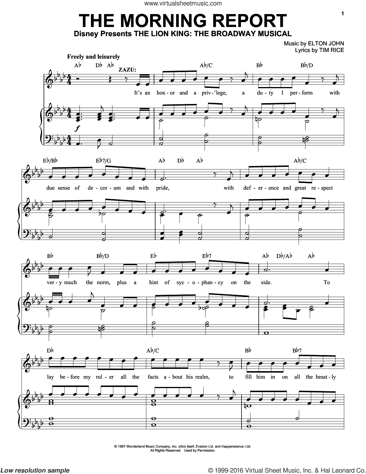 The Morning Report sheet music for voice, piano or guitar by Elton John and Tim Rice. Score Image Preview.