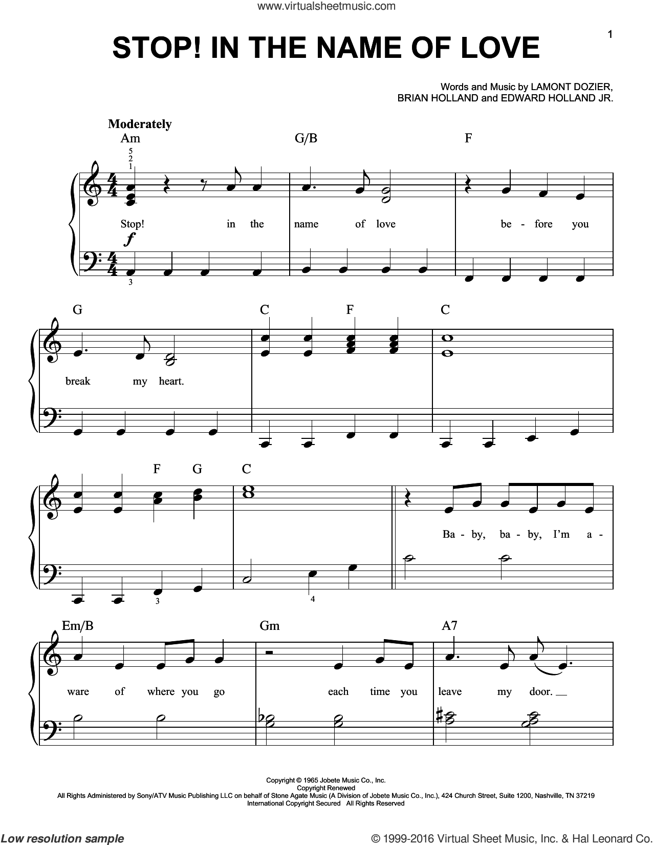 Stop! In The Name Of Love sheet music for piano solo by The Supremes, Brian Holland, Edward Holland Jr. and Lamont Dozier, easy skill level