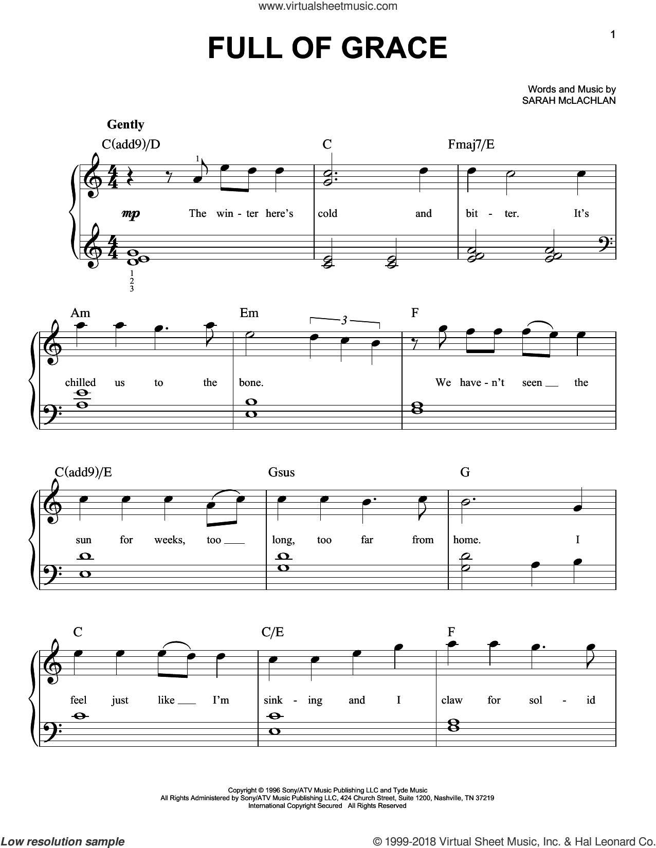 Full Of Grace sheet music for piano solo by Sarah McLachlan, easy skill level