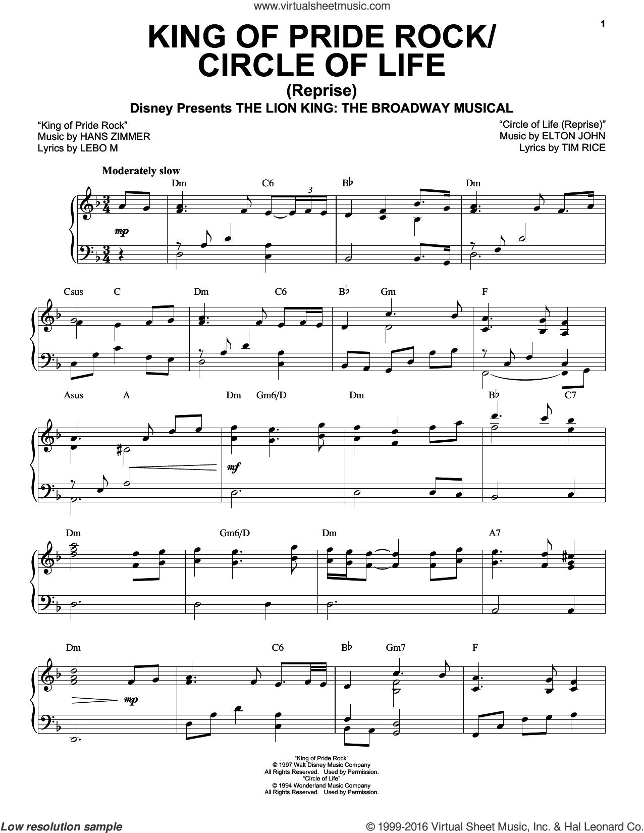 King Of Pride Rock (from The Lion King: Broadway Musical) sheet music for voice, piano or guitar by Elton John, Tim Rice, Hans Zimmer and Lebo M., intermediate skill level