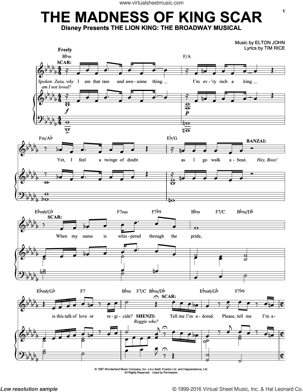 The Madness Of King Scar sheet music for voice, piano or guitar by Elton John and Tim Rice. Score Image Preview.
