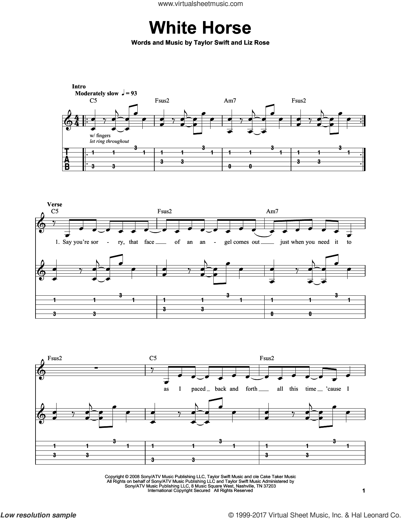 Swift White Horse Sheet Music For Guitar Solo Easy Tablature