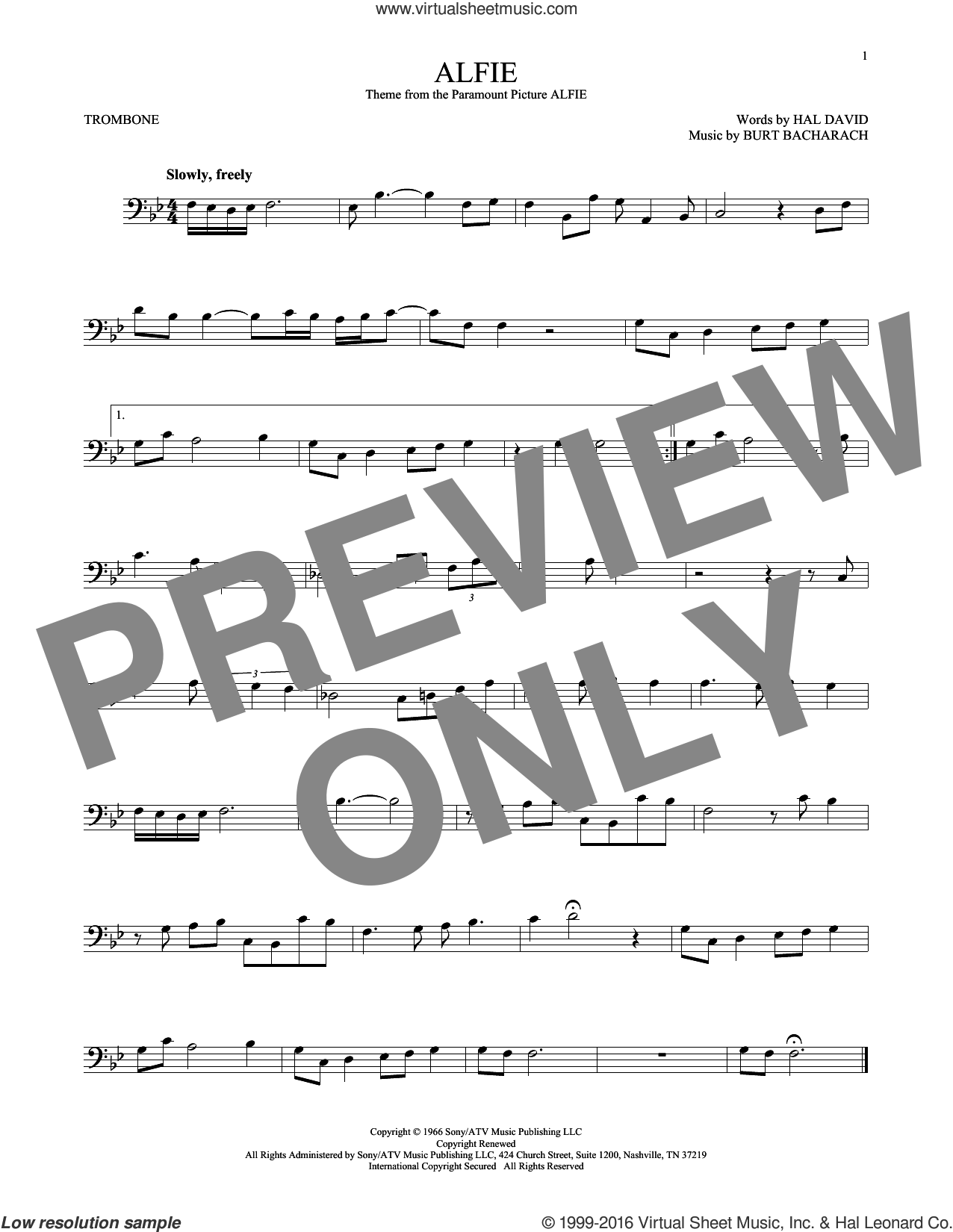 Alfie sheet music for trombone solo by Hal David, Cher, Dionne Warwick, Miscellaneous, Sonny Rollins, Stevie Wonder and Burt Bacharach. Score Image Preview.