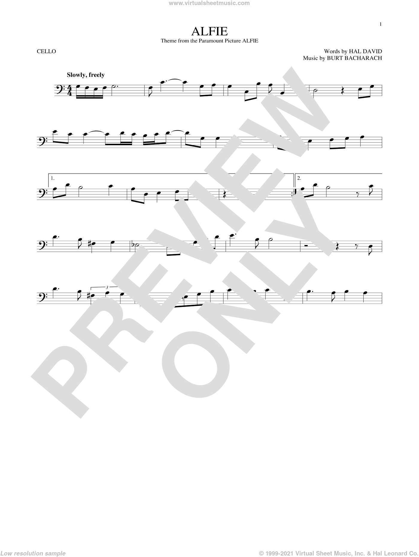 Alfie sheet music for cello solo by Dionne Warwick, Cher, Miscellaneous, Sonny Rollins, Stevie Wonder, Burt Bacharach and Hal David, intermediate skill level