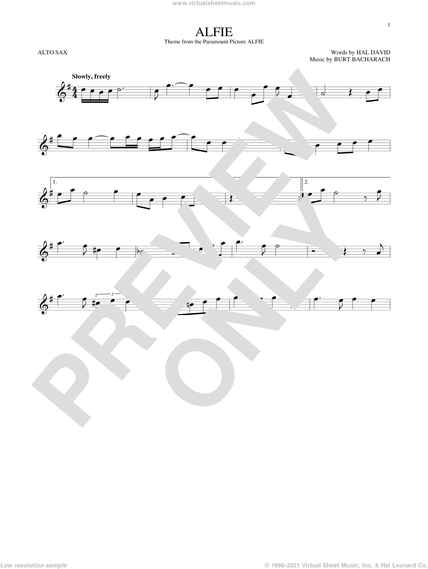 Alfie sheet music for alto saxophone solo ( Sax) by Dionne Warwick, Cher, Miscellaneous, Sonny Rollins, Stevie Wonder, Burt Bacharach and Hal David, intermediate alto saxophone ( Sax). Score Image Preview.