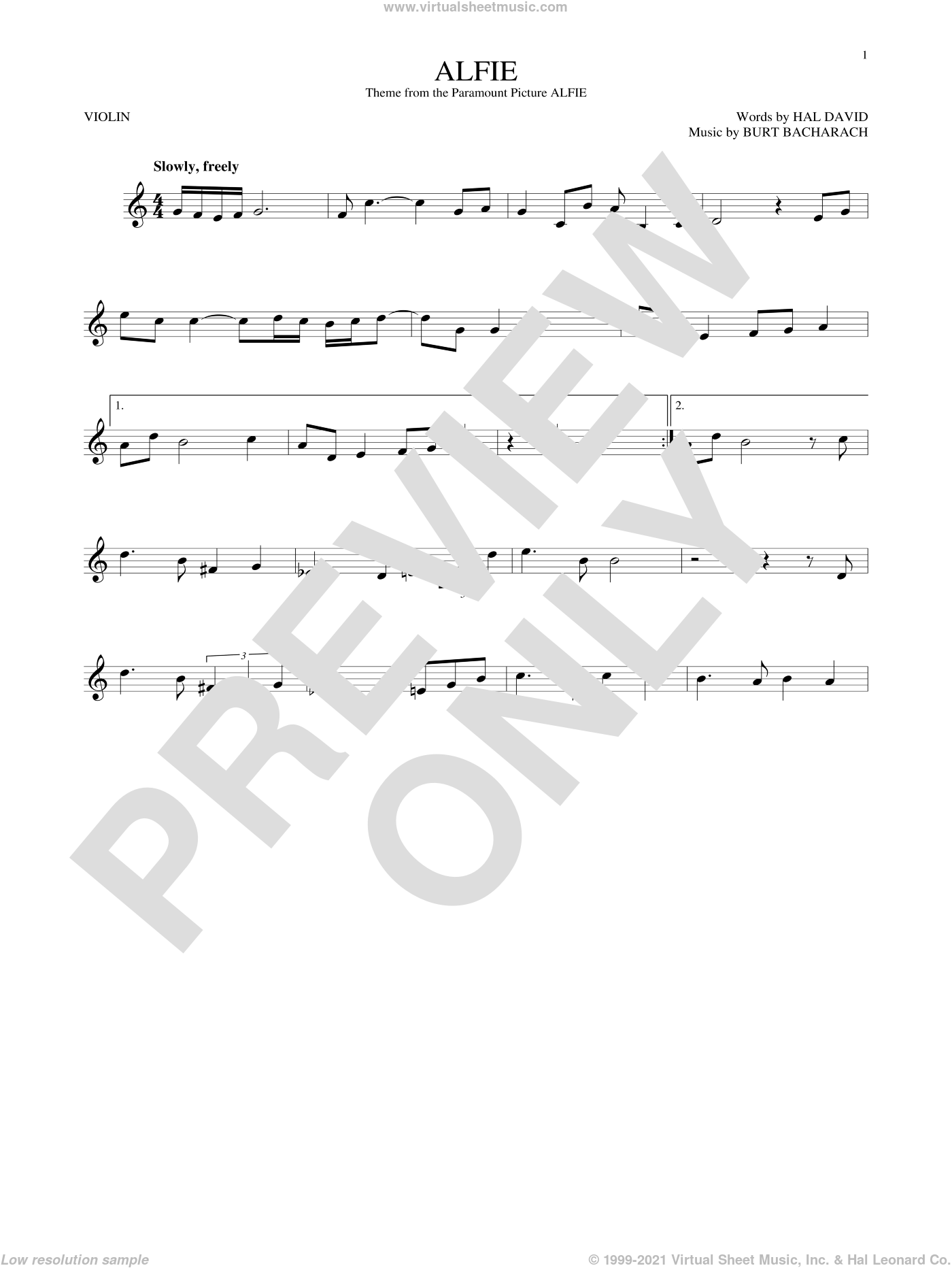 Alfie sheet music for violin solo by Dionne Warwick, Cher, Miscellaneous, Sonny Rollins, Stevie Wonder, Burt Bacharach and Hal David, intermediate skill level