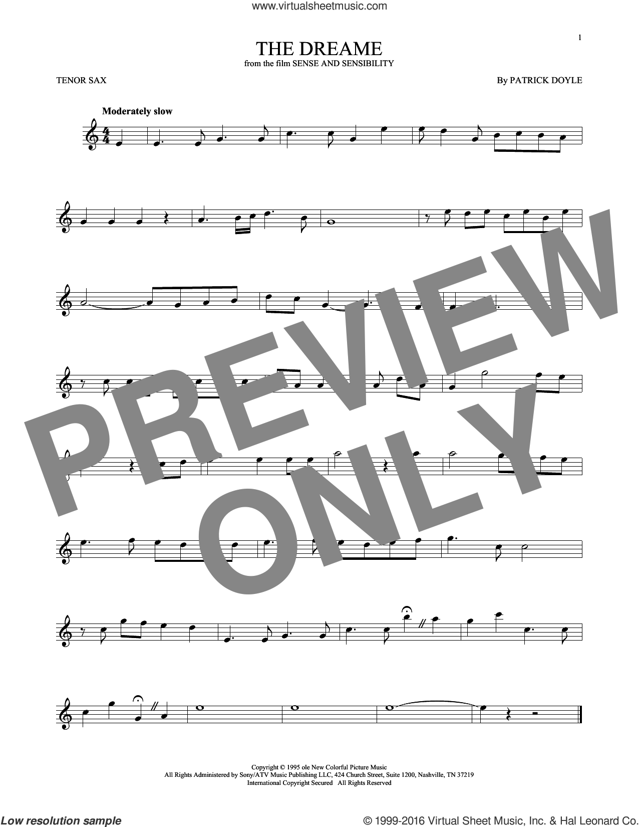 The Dreame sheet music for tenor saxophone solo ( Sax) by Patrick Doyle. Score Image Preview.