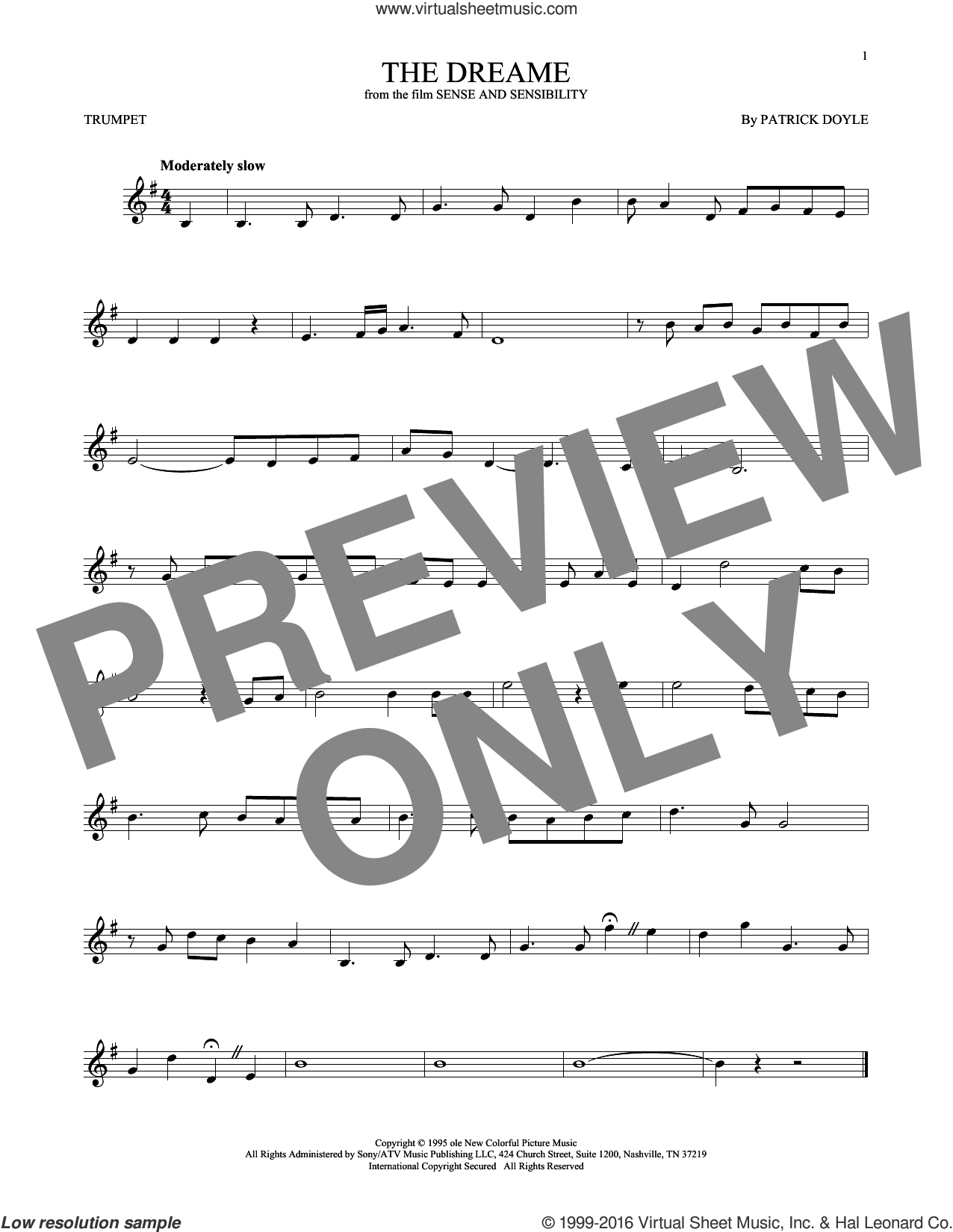 The Dreame sheet music for trumpet solo by Patrick Doyle, intermediate. Score Image Preview.