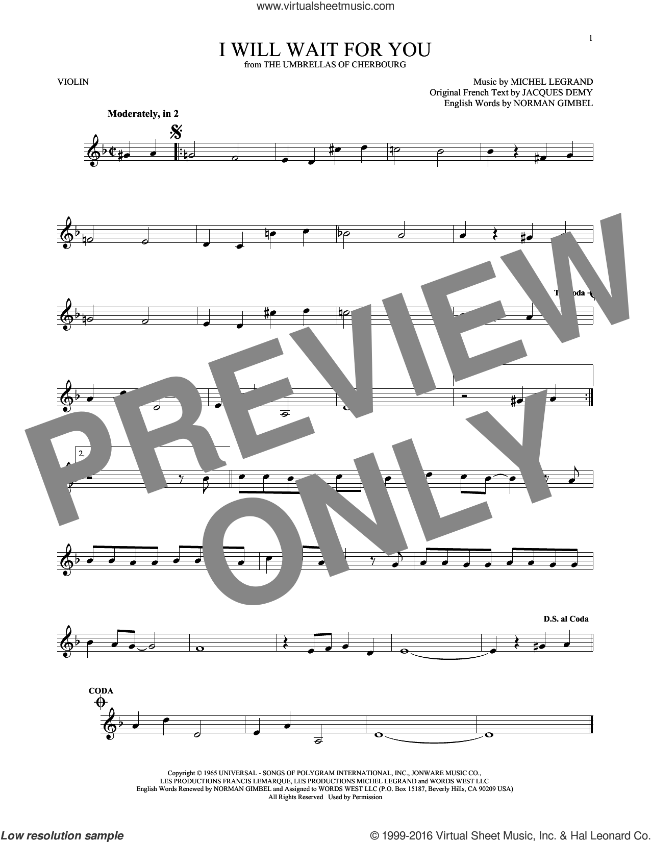 I Will Wait For You sheet music for violin solo by Norman Gimbel, Jacques Demy and Michel Legrand. Score Image Preview.